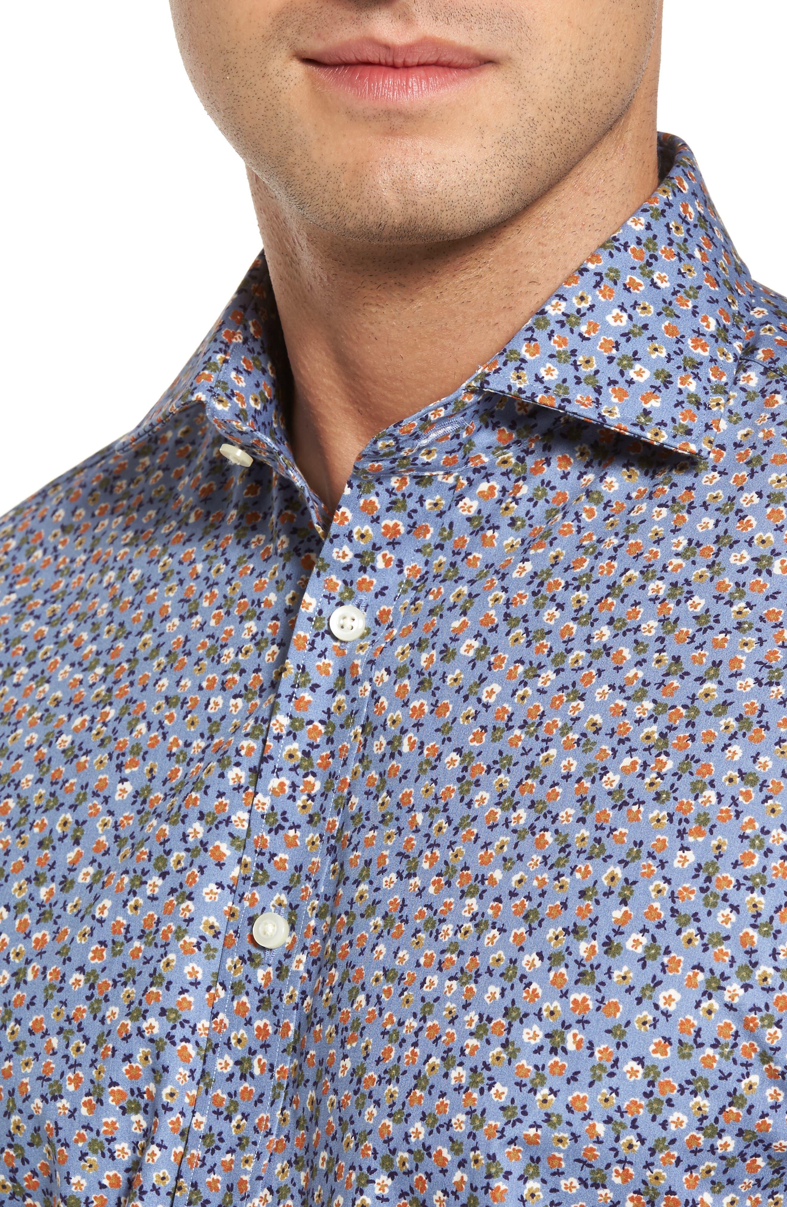 Alternate Image 4  - Thomas Dean Regular Fit Floral Print Sport Shirt