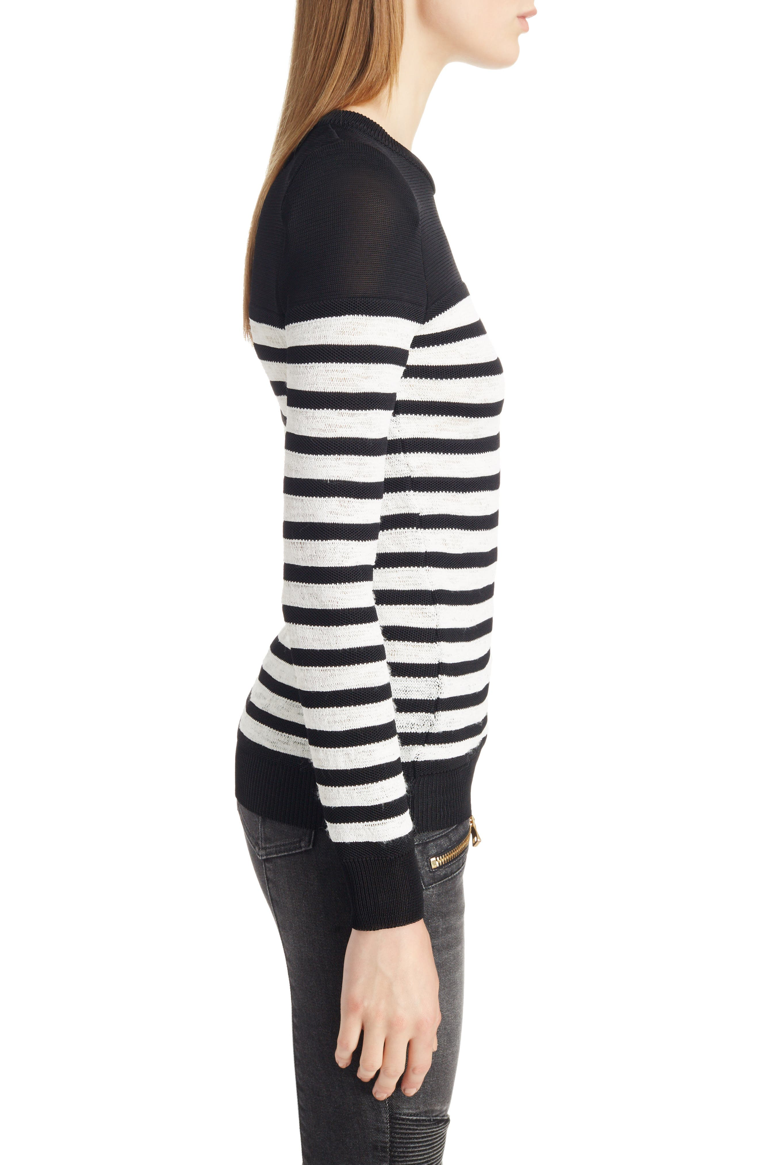 Marine Stripe Knit Sweater,                             Alternate thumbnail 3, color,                             Black And White