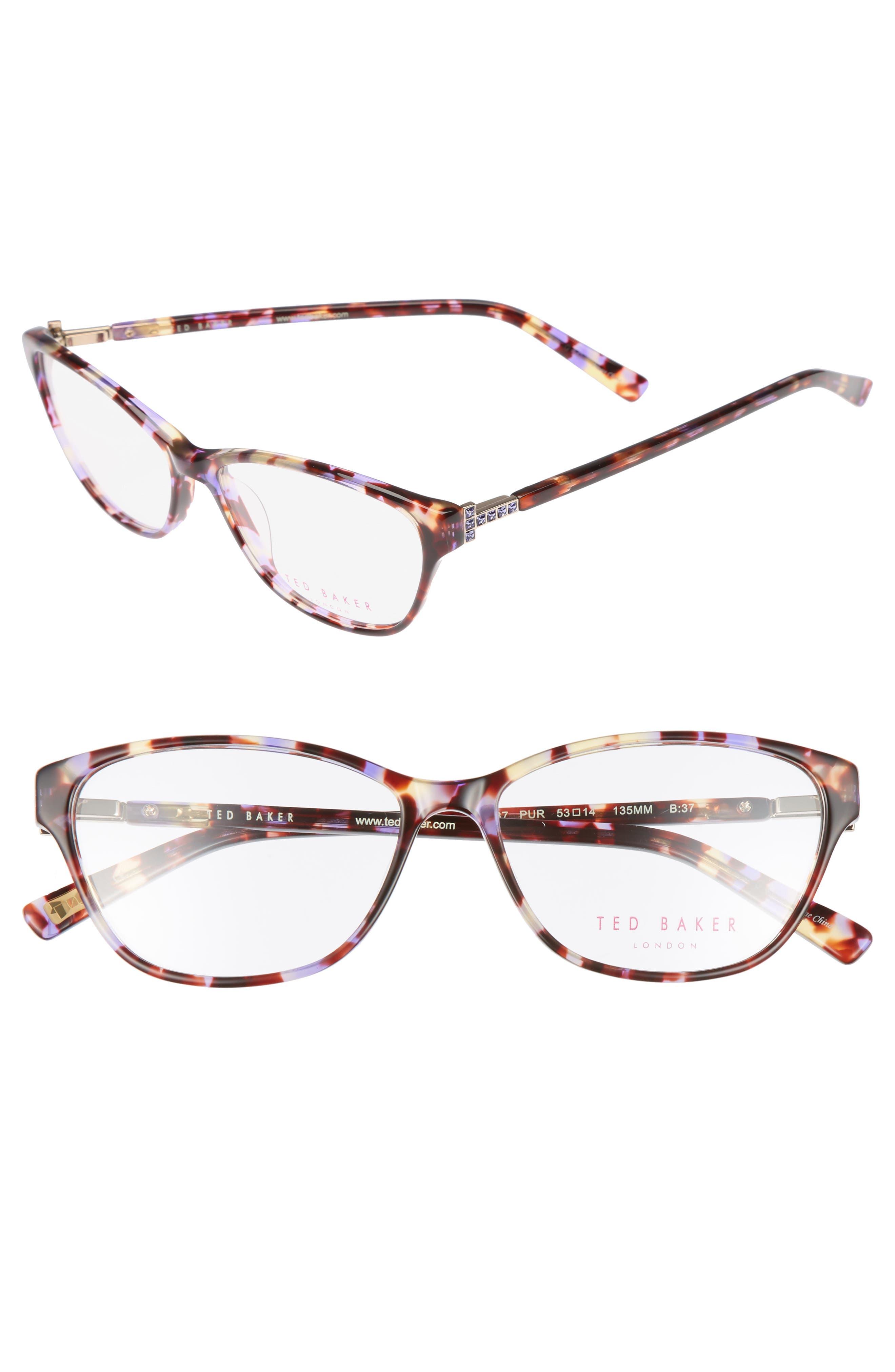 53mm Optical Cat Eye Glasses,                             Main thumbnail 1, color,                             Purple