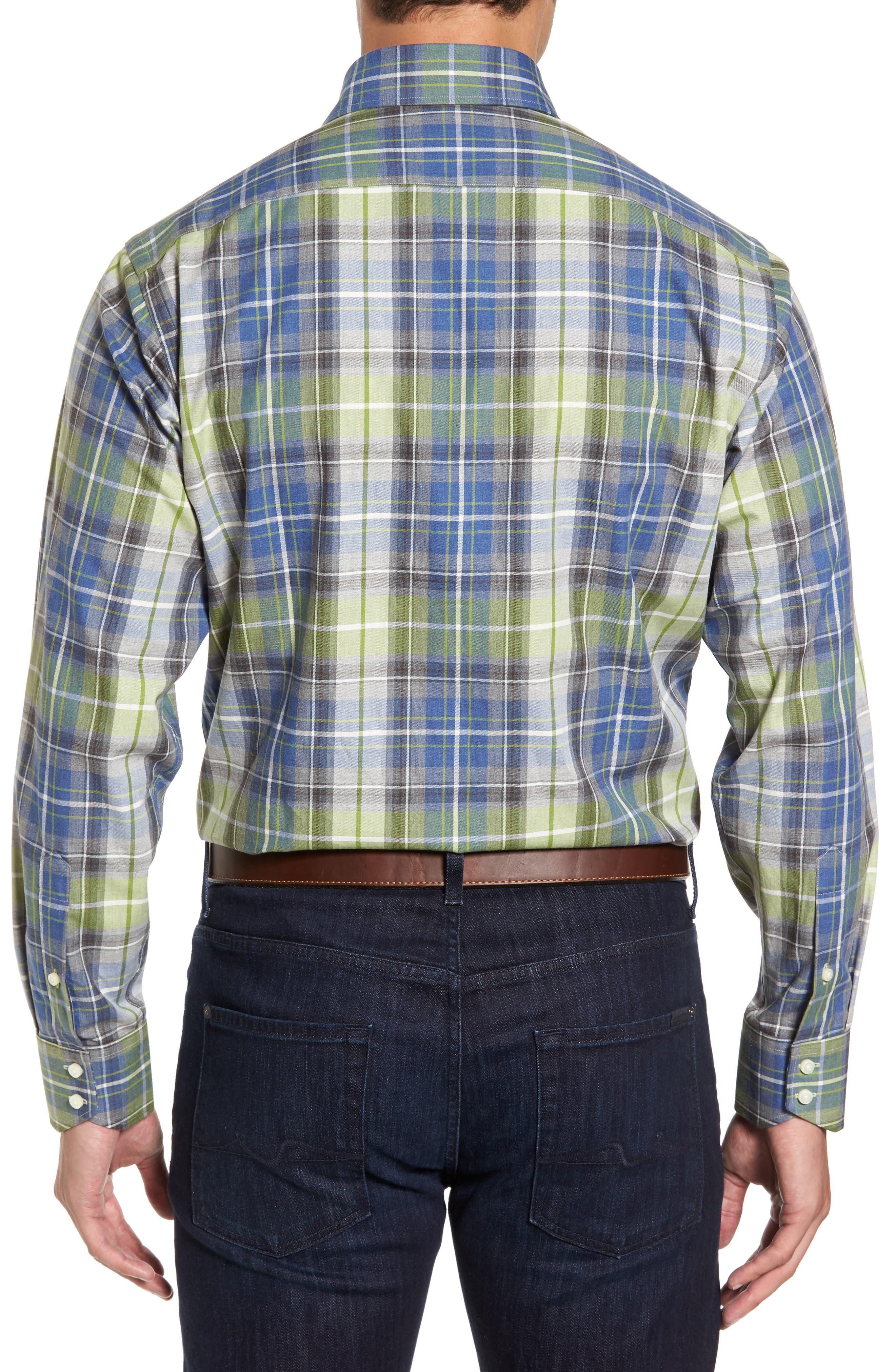 Alternate Image 2  - Thomas Dean Regular Fit Plaid Sport Shirt