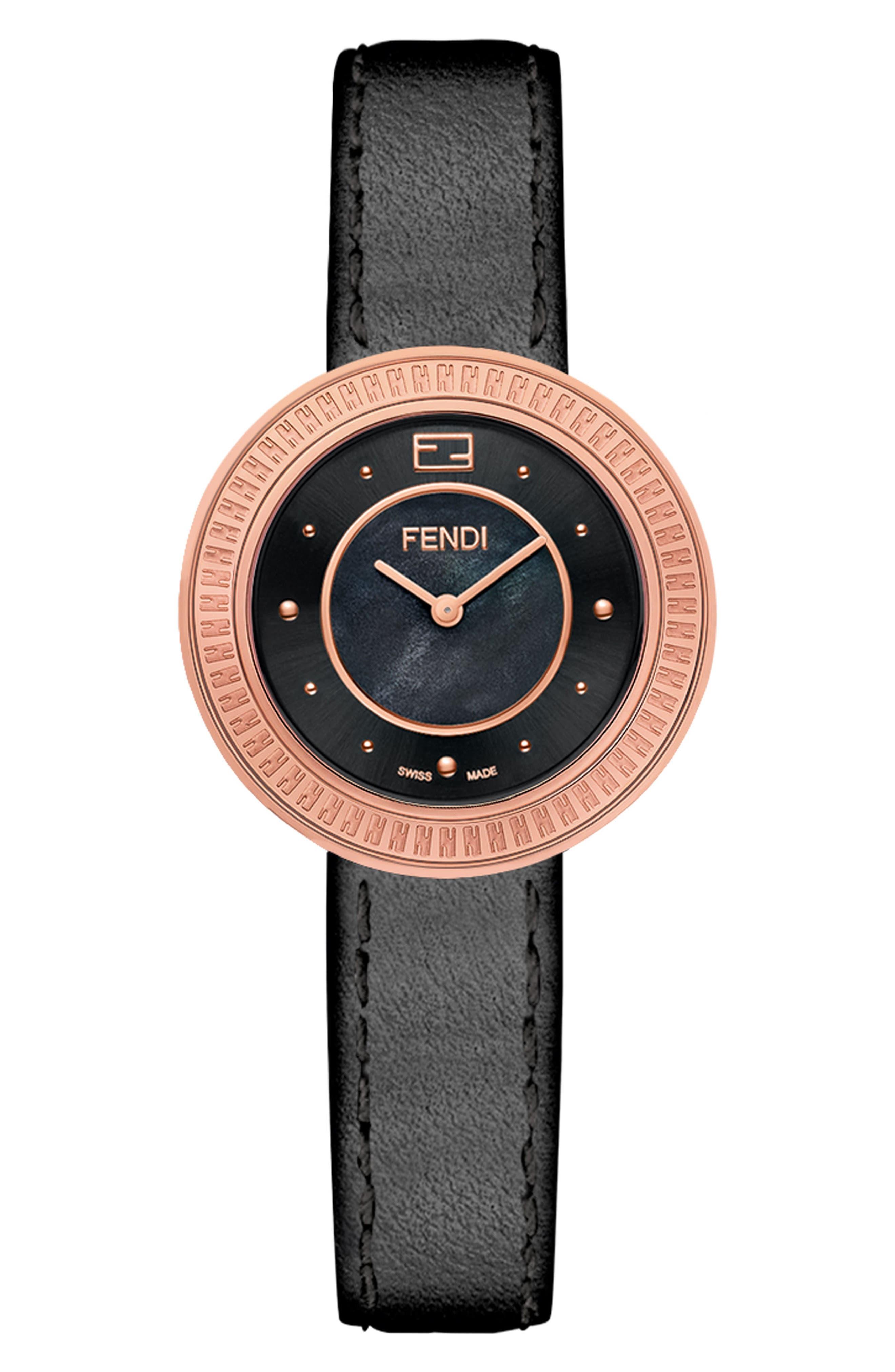 Alternate Image 3  - Fendi My Way Genuine Fox Fur Leather Strap Watch, 28mm