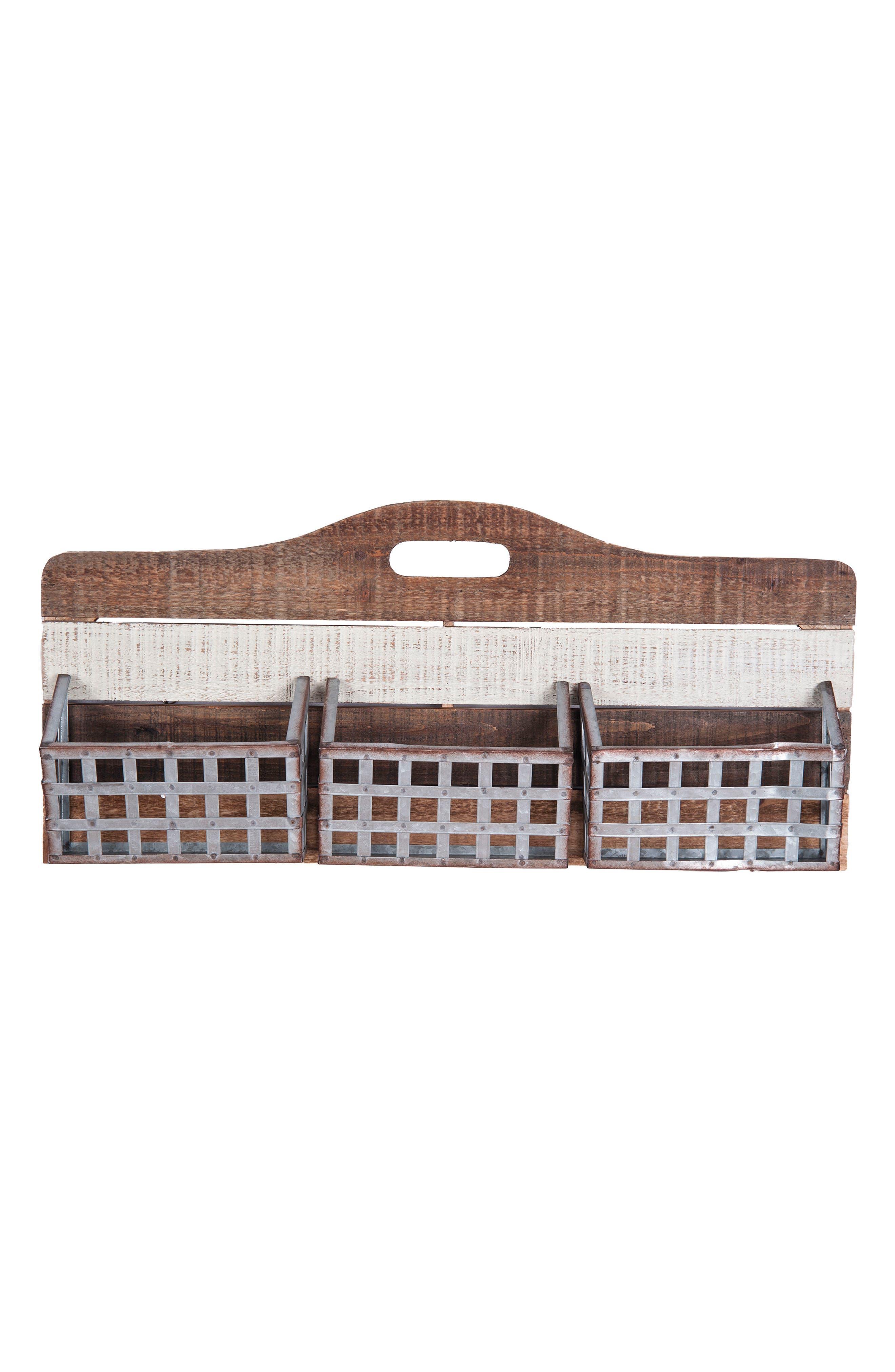 Basket Wall Art,                             Main thumbnail 1, color,                             Wood/ Metal