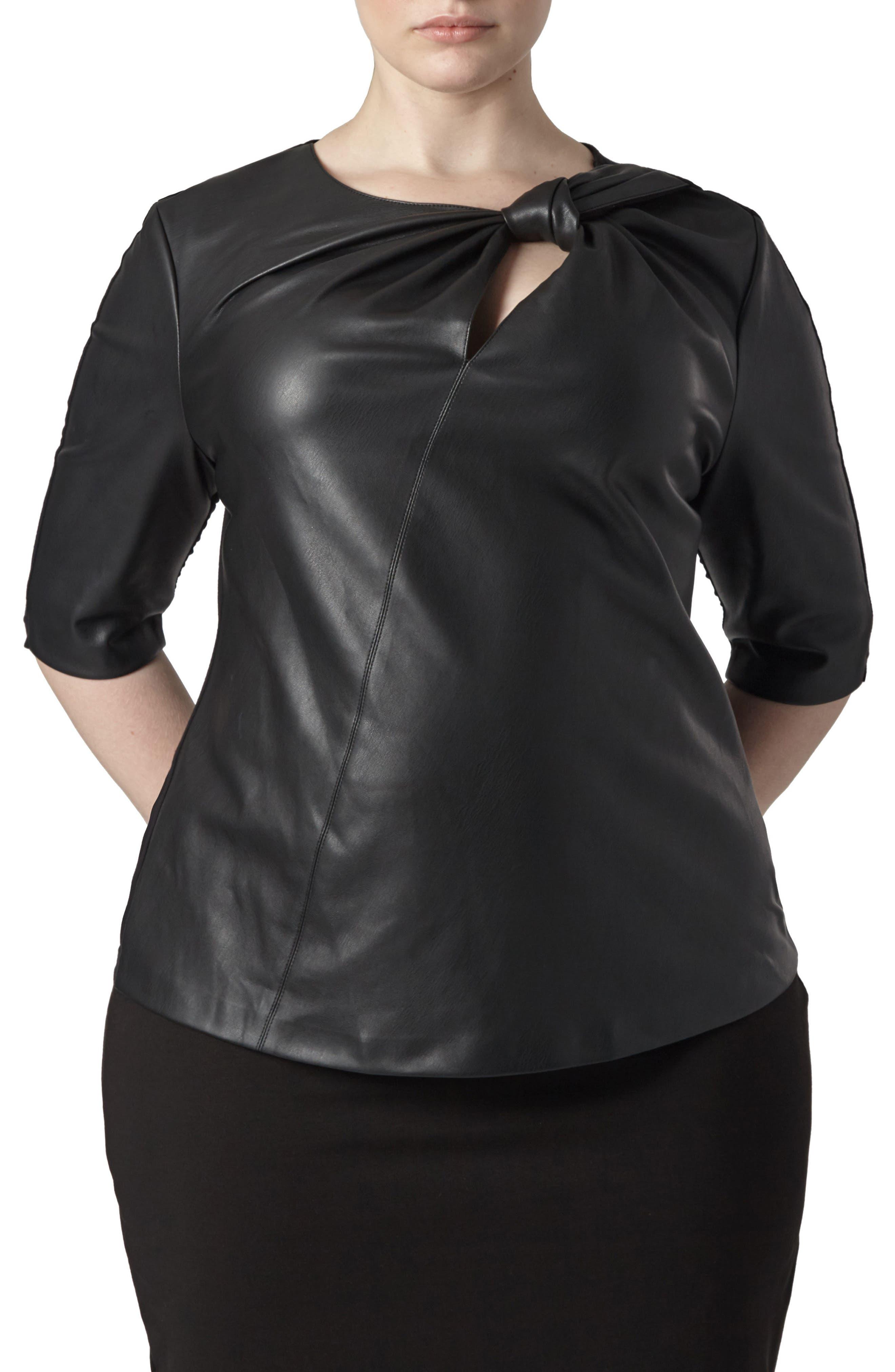 Savio Faux Leather Front Top,                         Main,                         color, Black