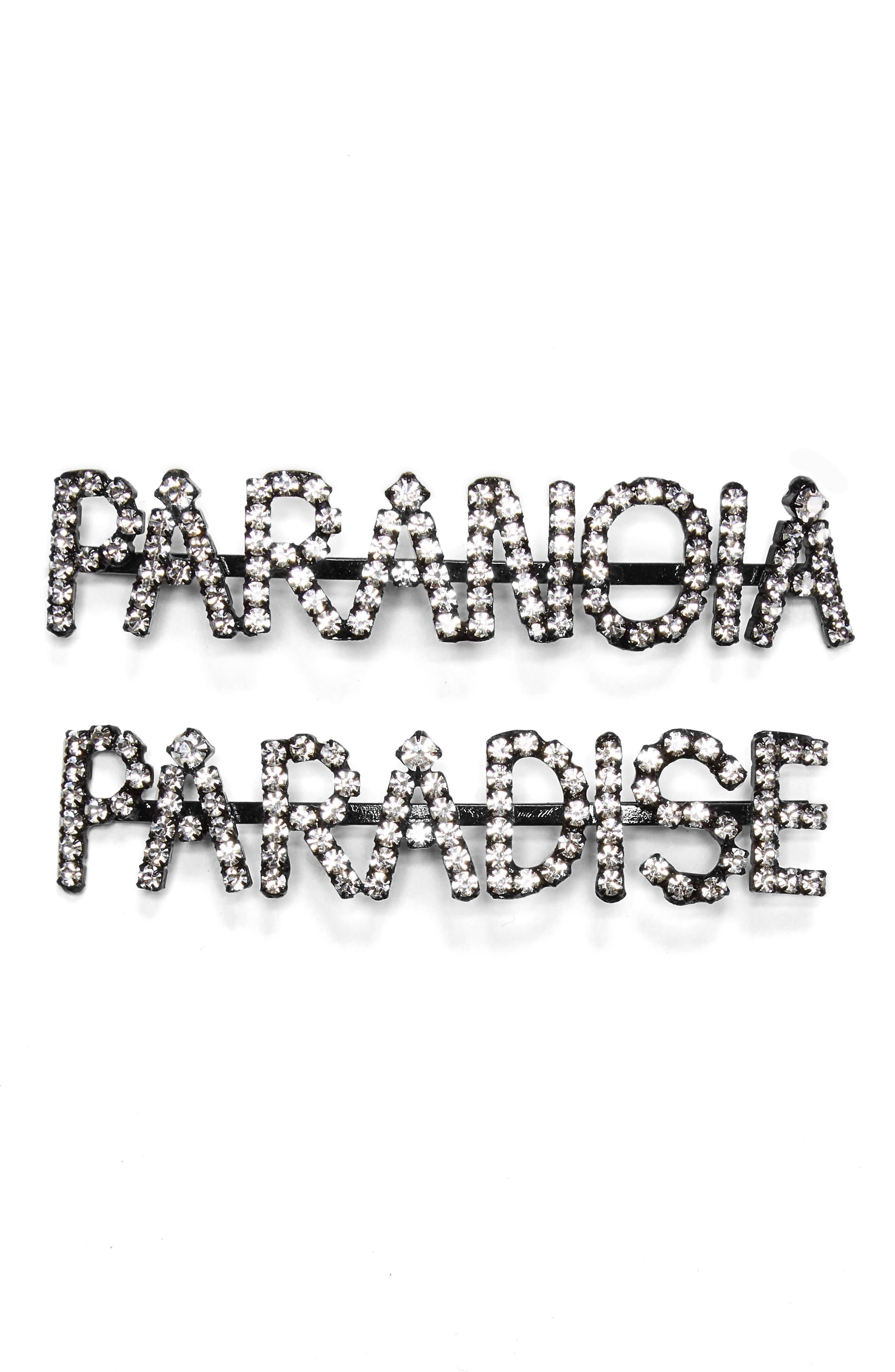 Ashley Williams Paranoia/Paradise Set of 2 Crystal Bobby Pins