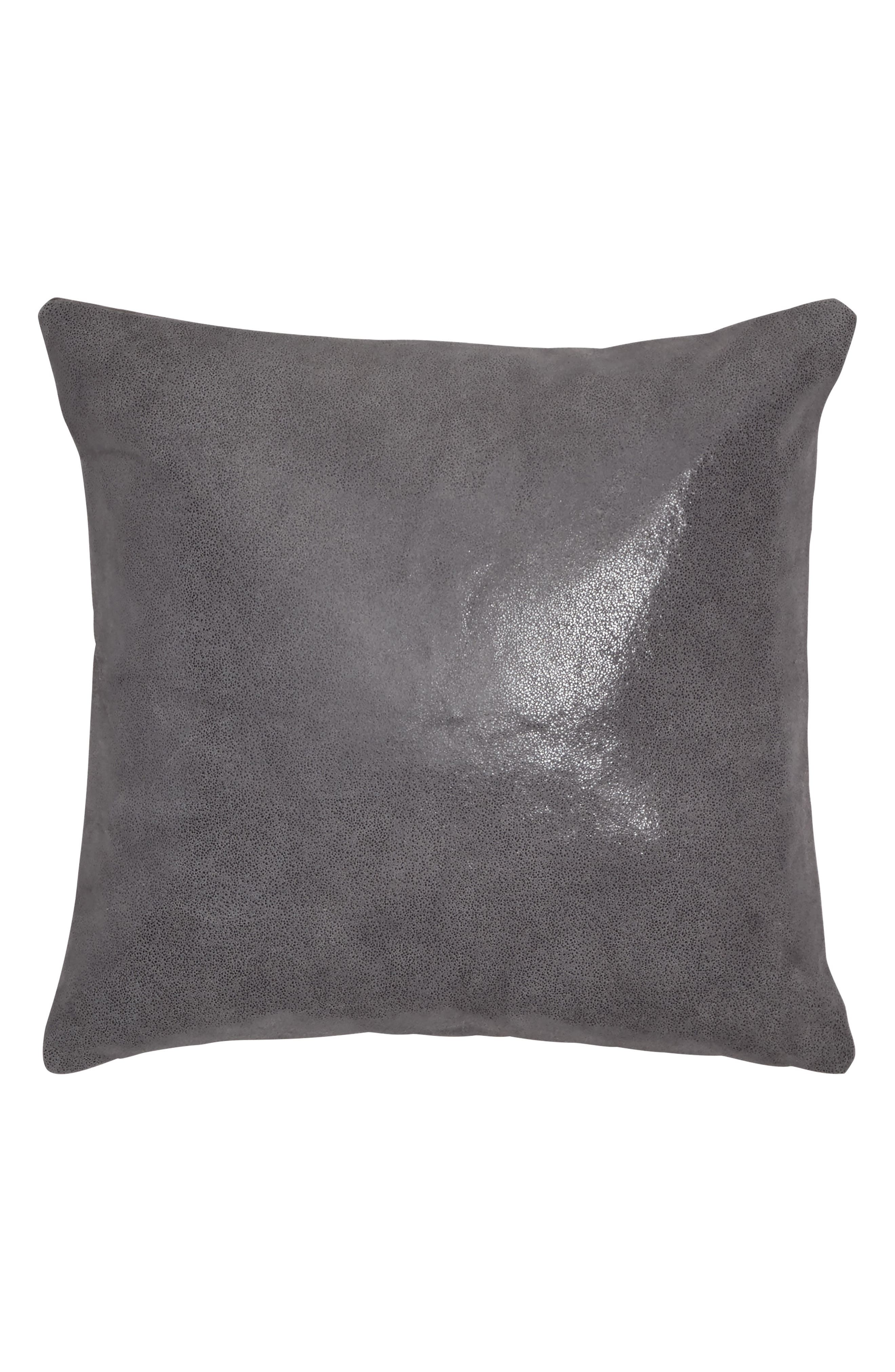 Moonscape Leather Accent Pillow,                         Main,                         color, Charcoal