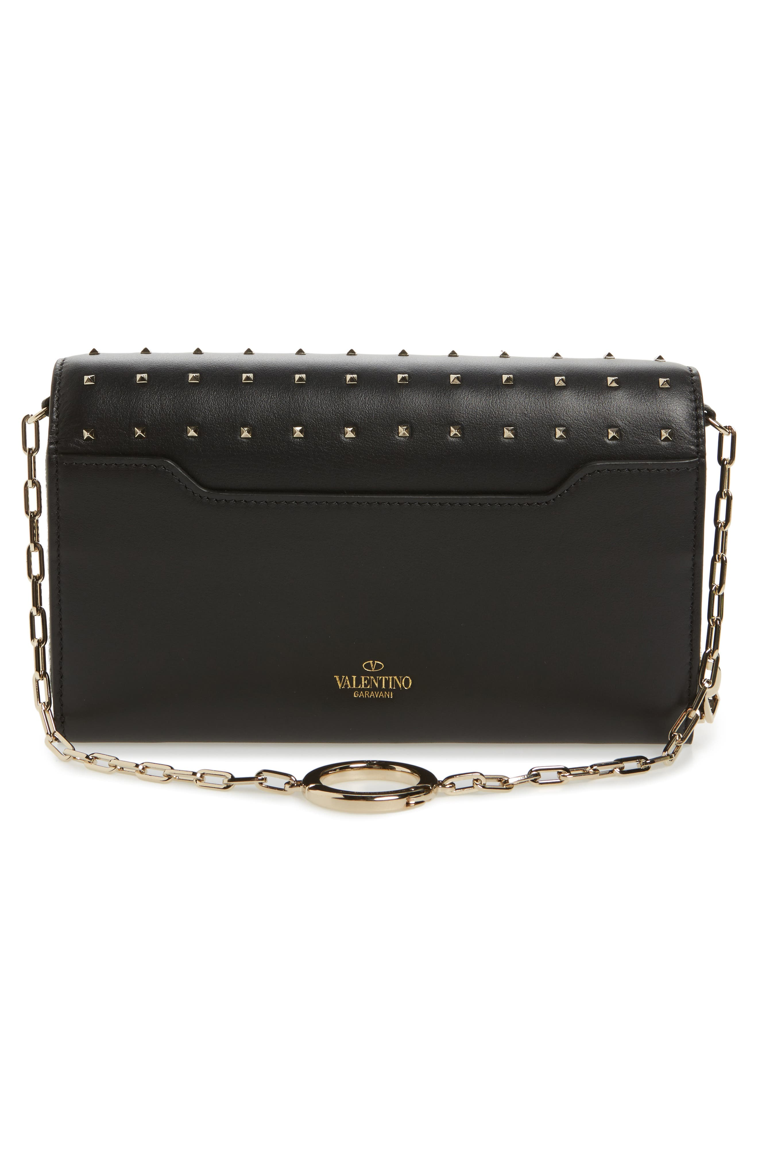 Small Rockstud Calfskin Leather Wallet on a Chain,                             Alternate thumbnail 4, color,                             Nero