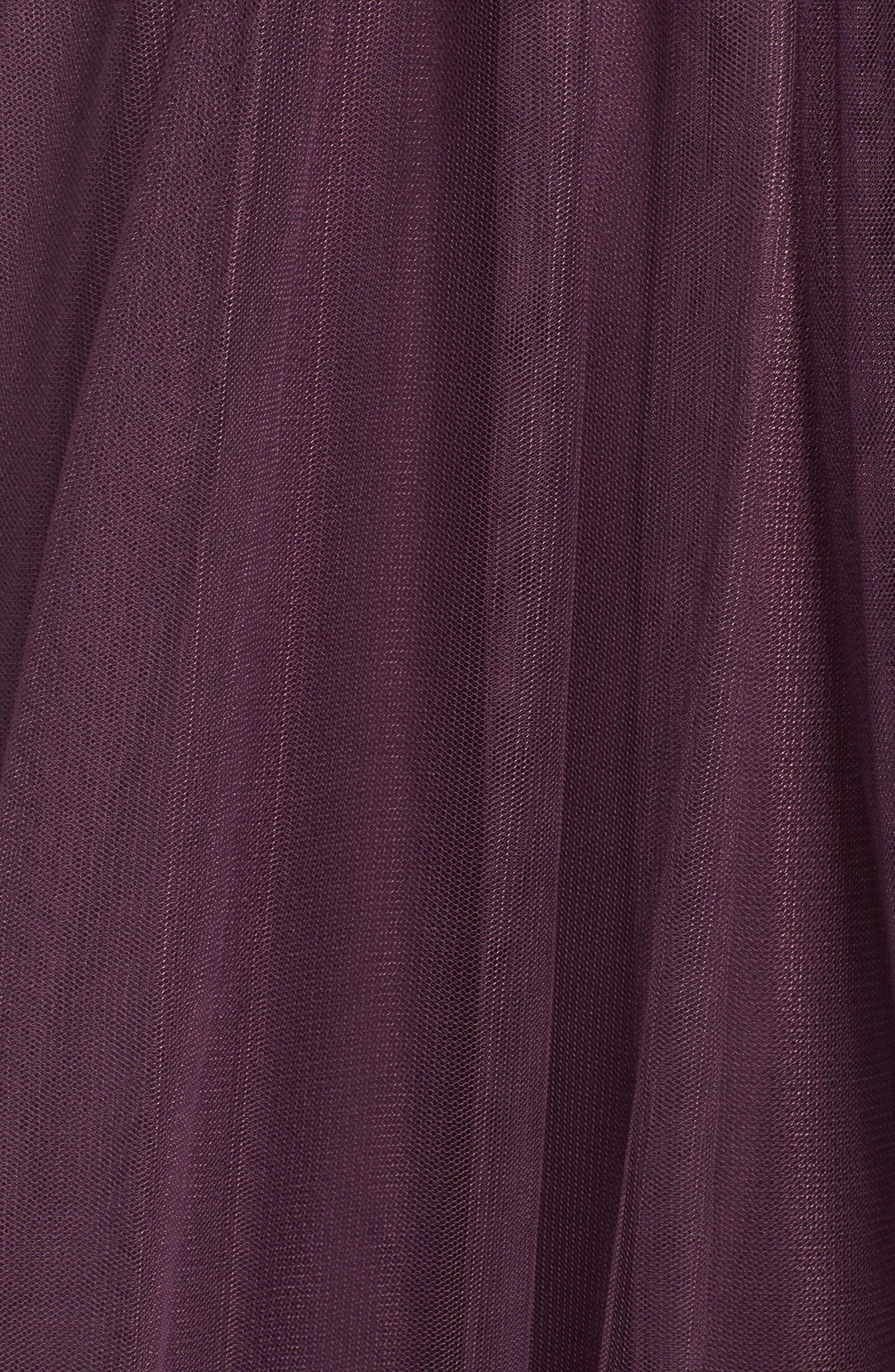 Annabelle Convertible Tulle Column Dress,                             Alternate thumbnail 5, color,                             Raisin