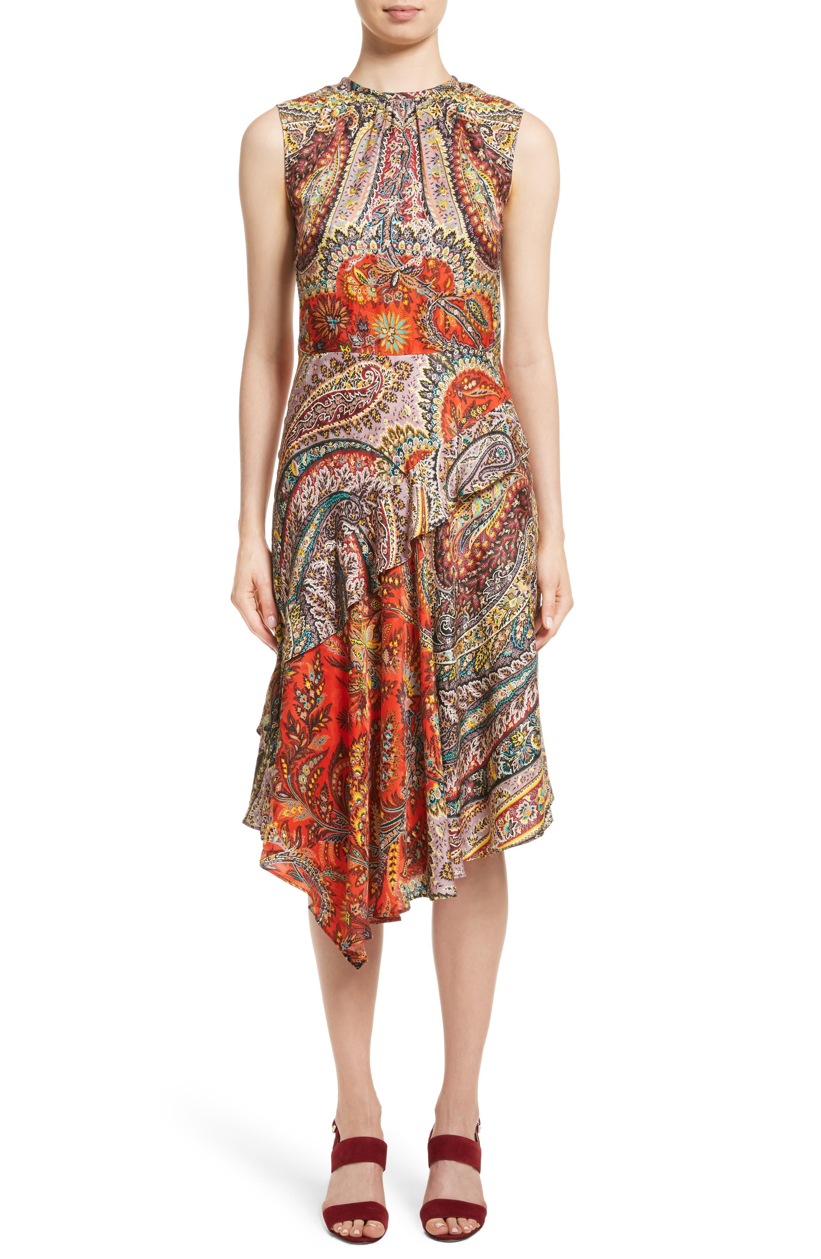 Paisley Print Asymmetrical Dress,                         Main,                         color, Red