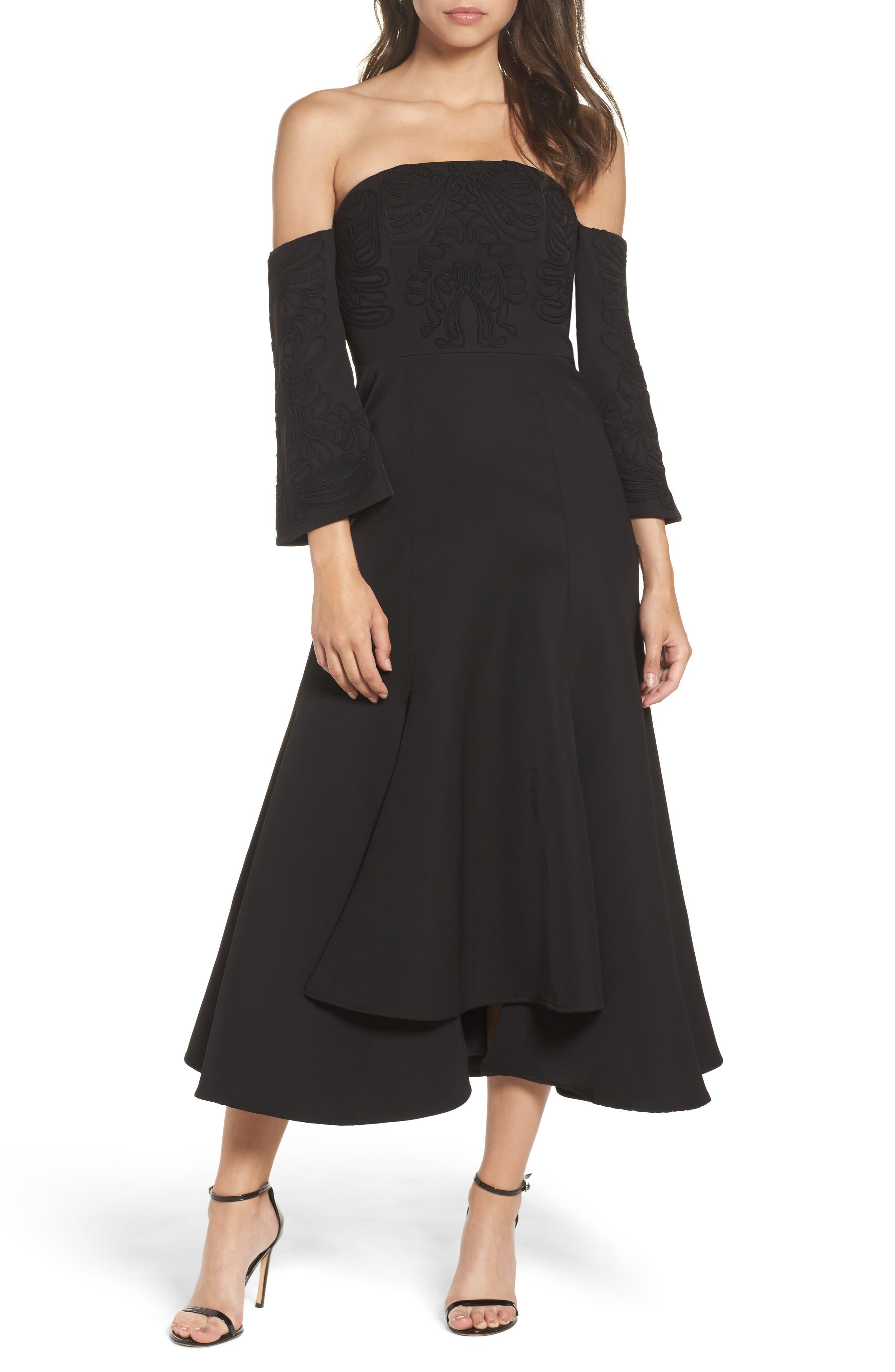 Paradise Off the Shoulder Midi Dress,                             Main thumbnail 1, color,                             Black