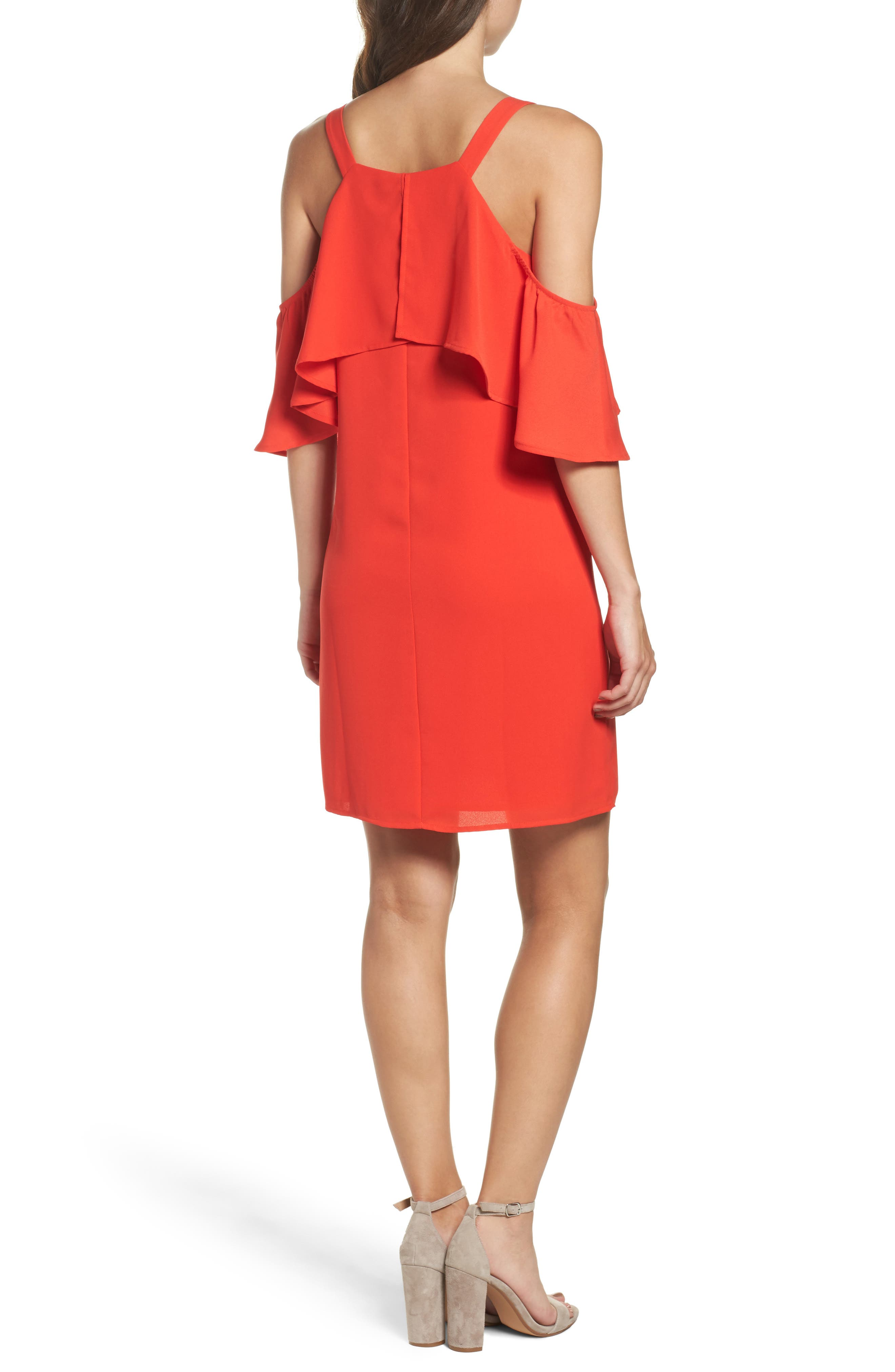 Crepe Cold Shoulder Dress,                             Alternate thumbnail 2, color,                             Coral Orange