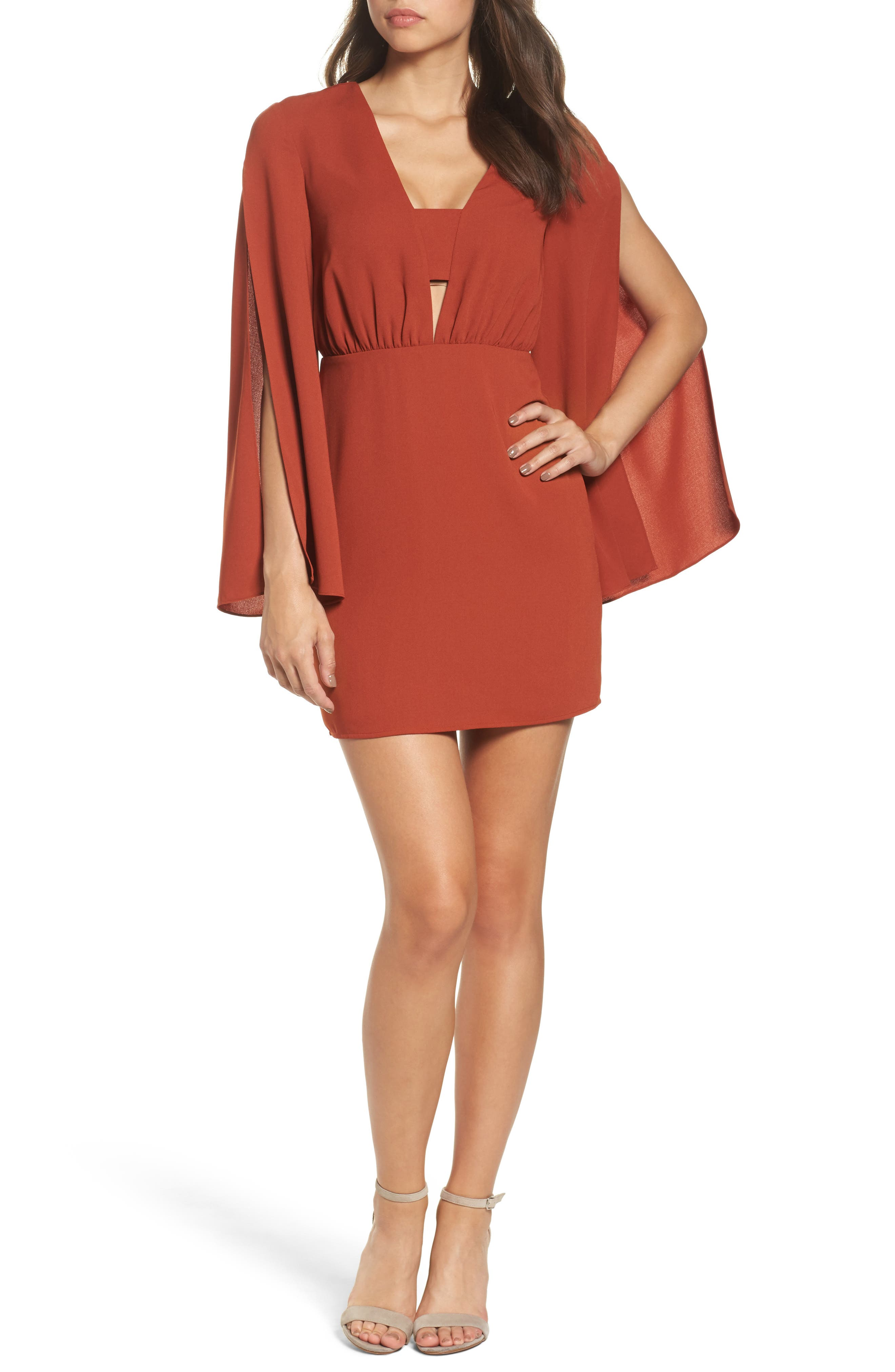 Cutout Minidress,                         Main,                         color, Rust