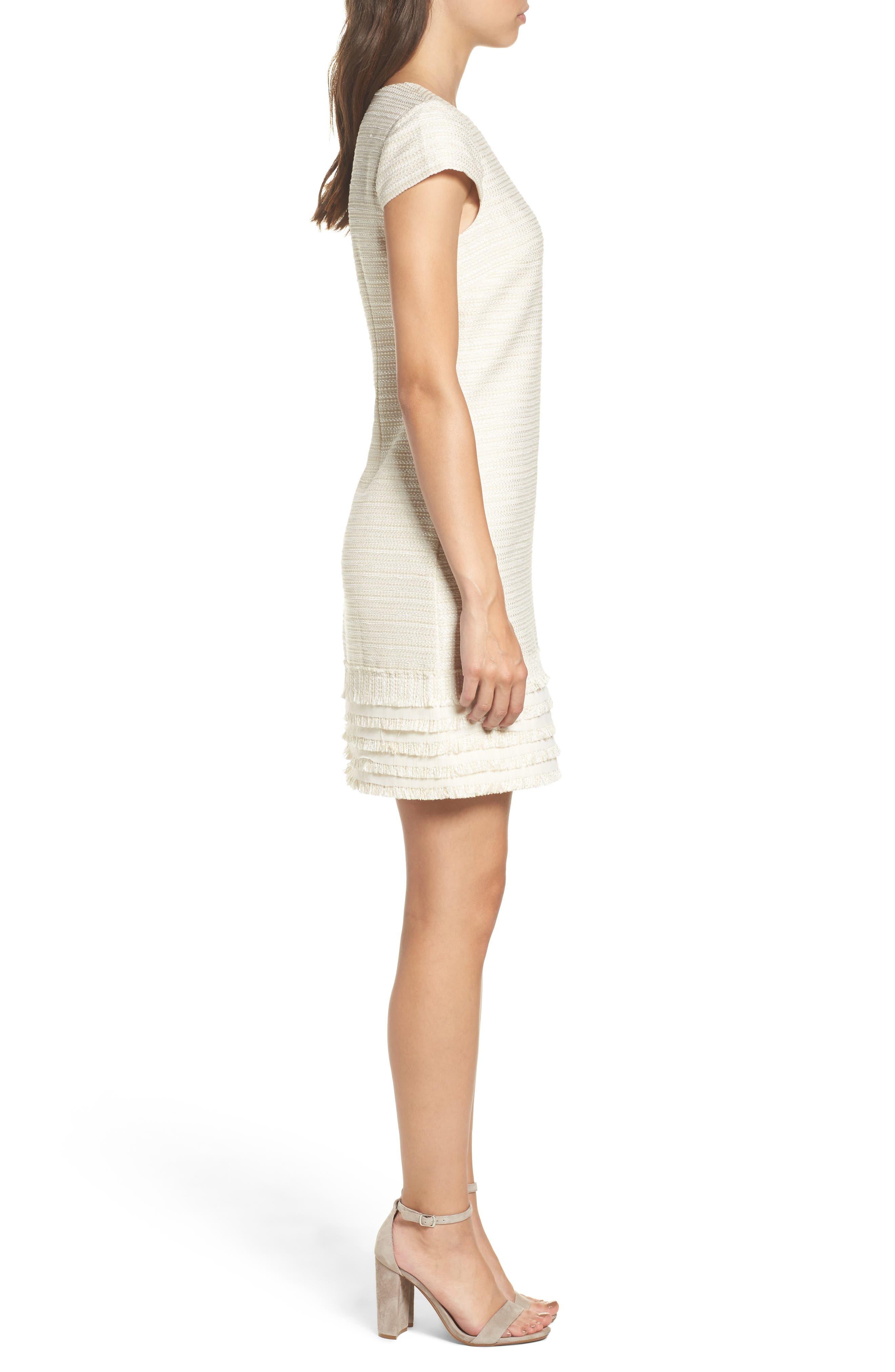 Alternate Image 3  - Vince Camuto Fringed Tweed Shift Dress (Regular & Petite)