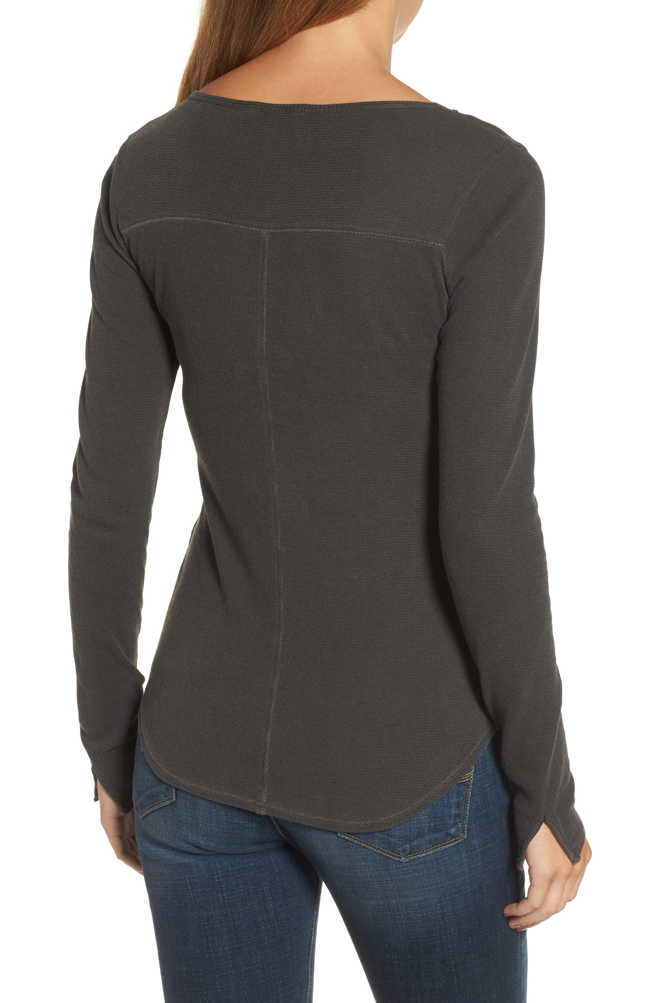 Lace-Up Bib Thermal Top,                             Alternate thumbnail 2, color,                             Lucky Black