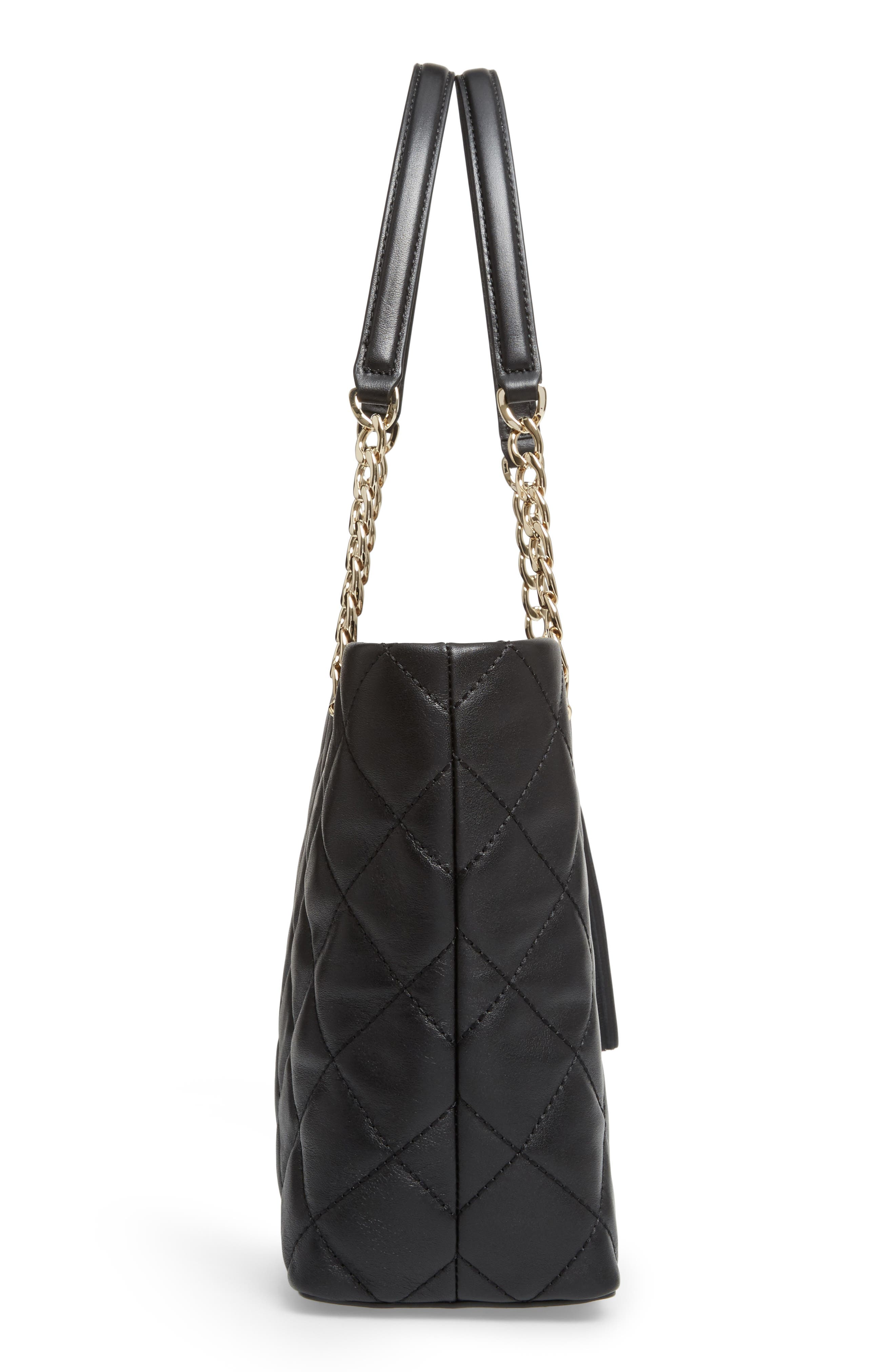 small emerson place - priya quilted leather tote,                             Alternate thumbnail 4, color,                             Black