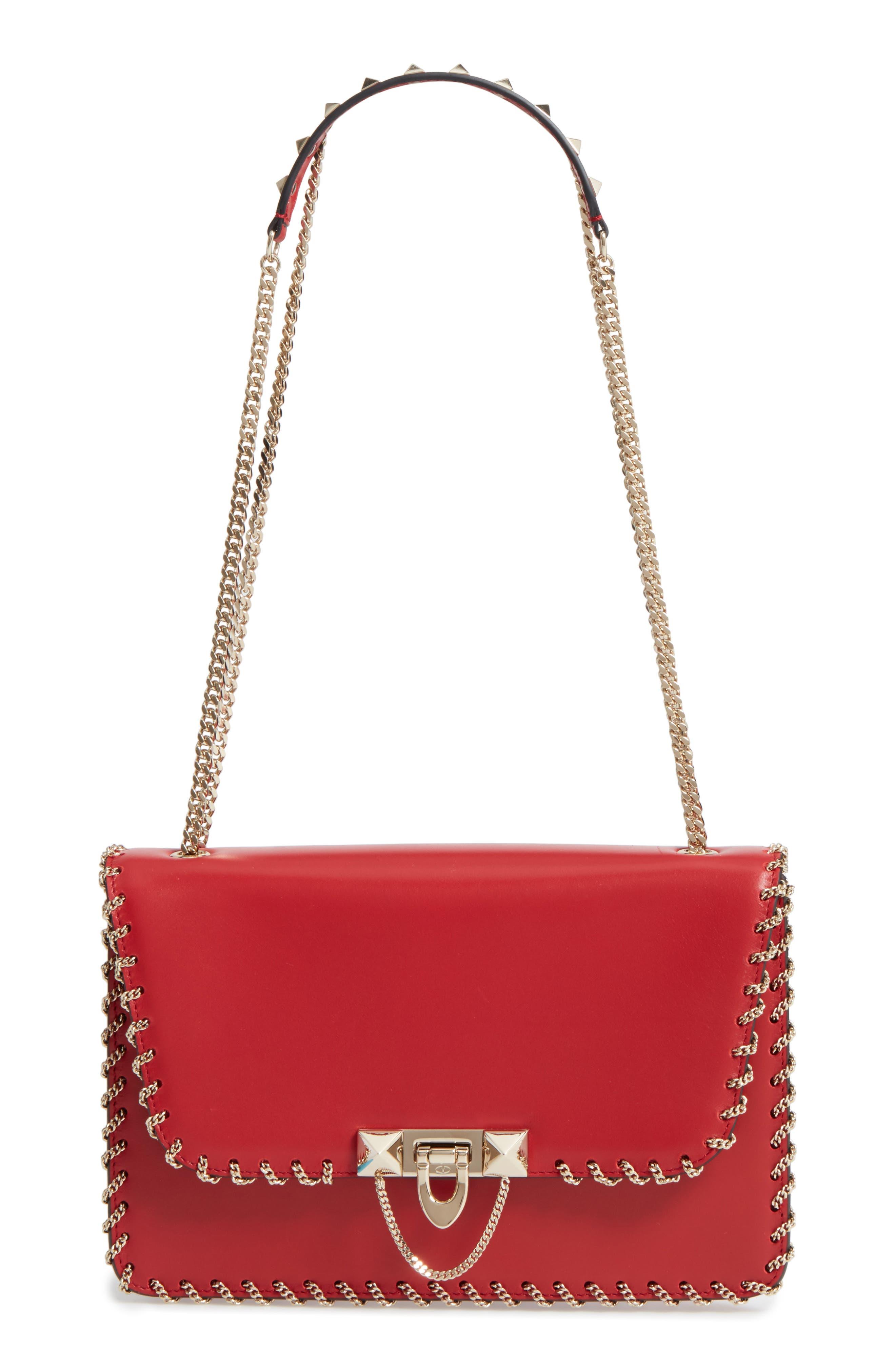 Main Image - VALENTINO GARAVANI Demilune Whipstitch Leather Shoulder Bag