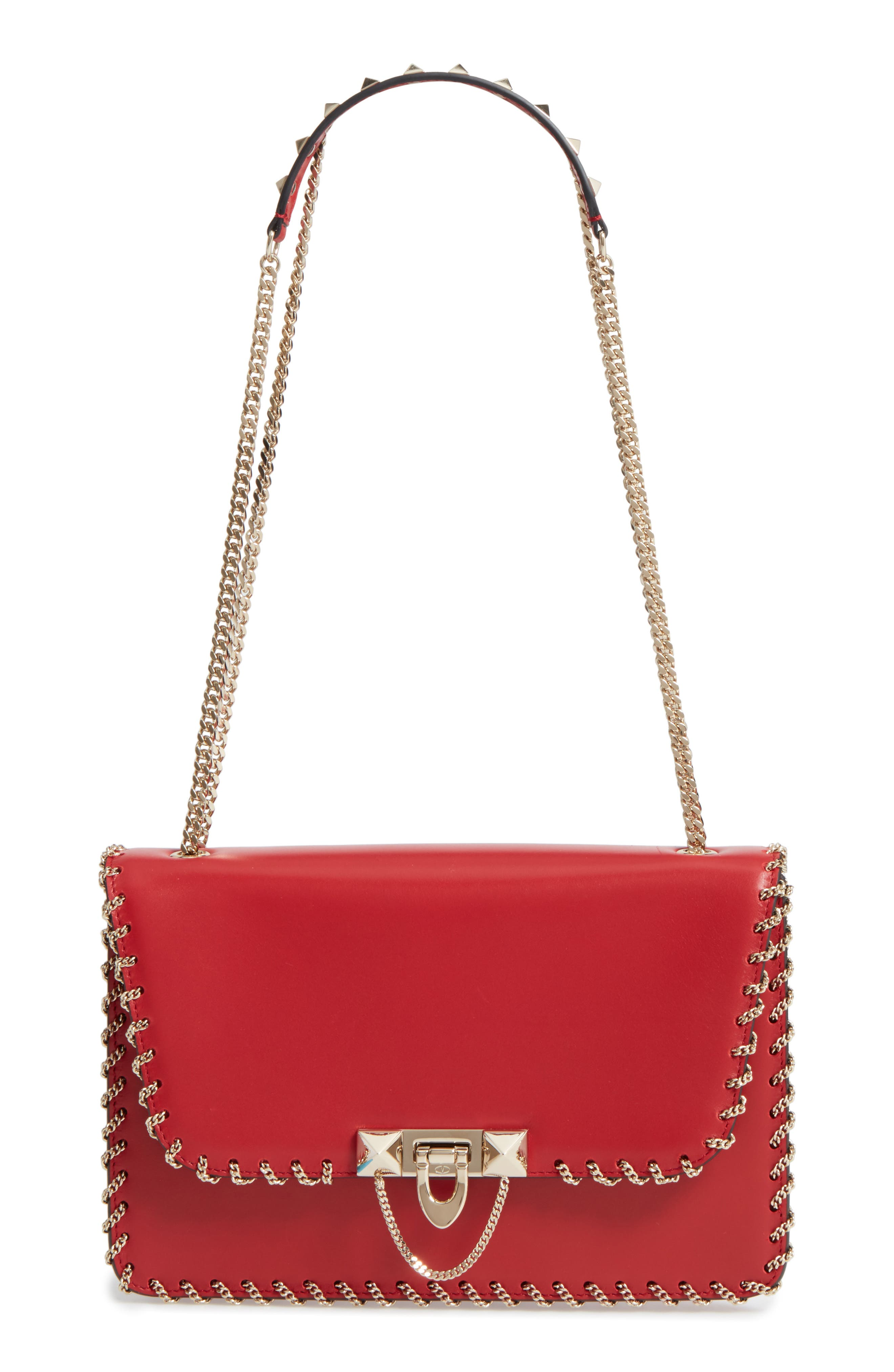VALENTINO GARAVANI Demilune Whipstitch Leather Shoulder Bag