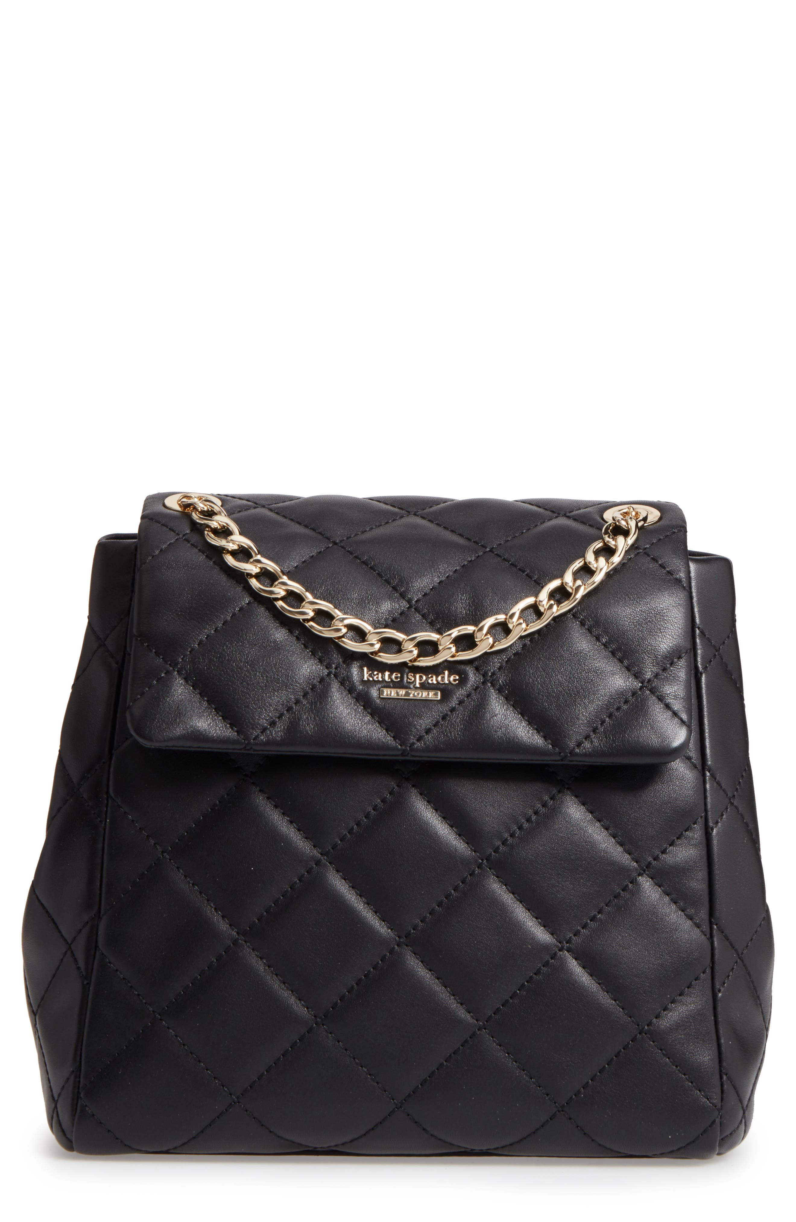 emerson place - martina quilted leather backpack,                             Main thumbnail 1, color,                             Black