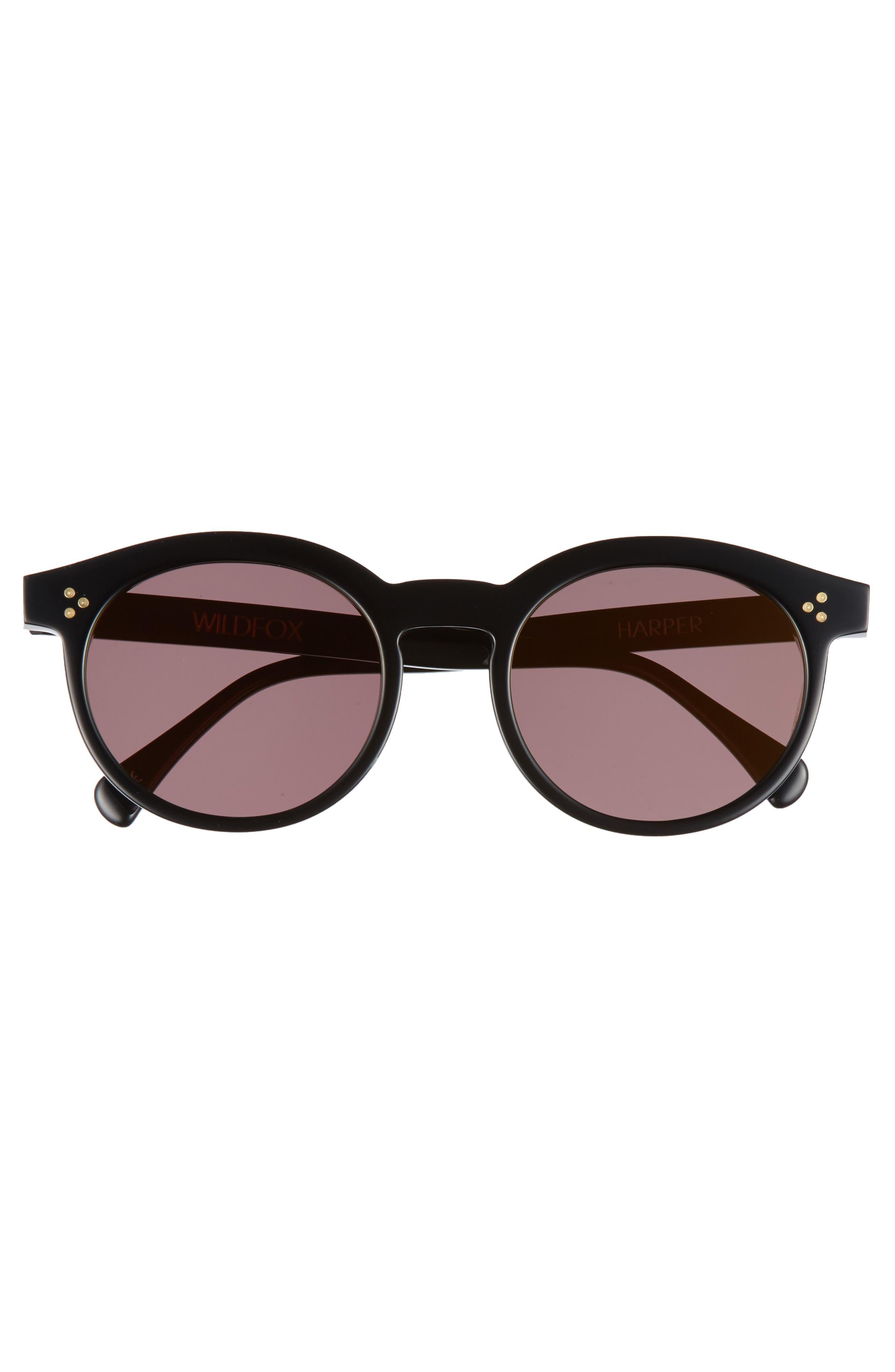 Harper Zero 53mm Round Keyhole Sunglasses,                             Alternate thumbnail 3, color,                             Black/ Gold