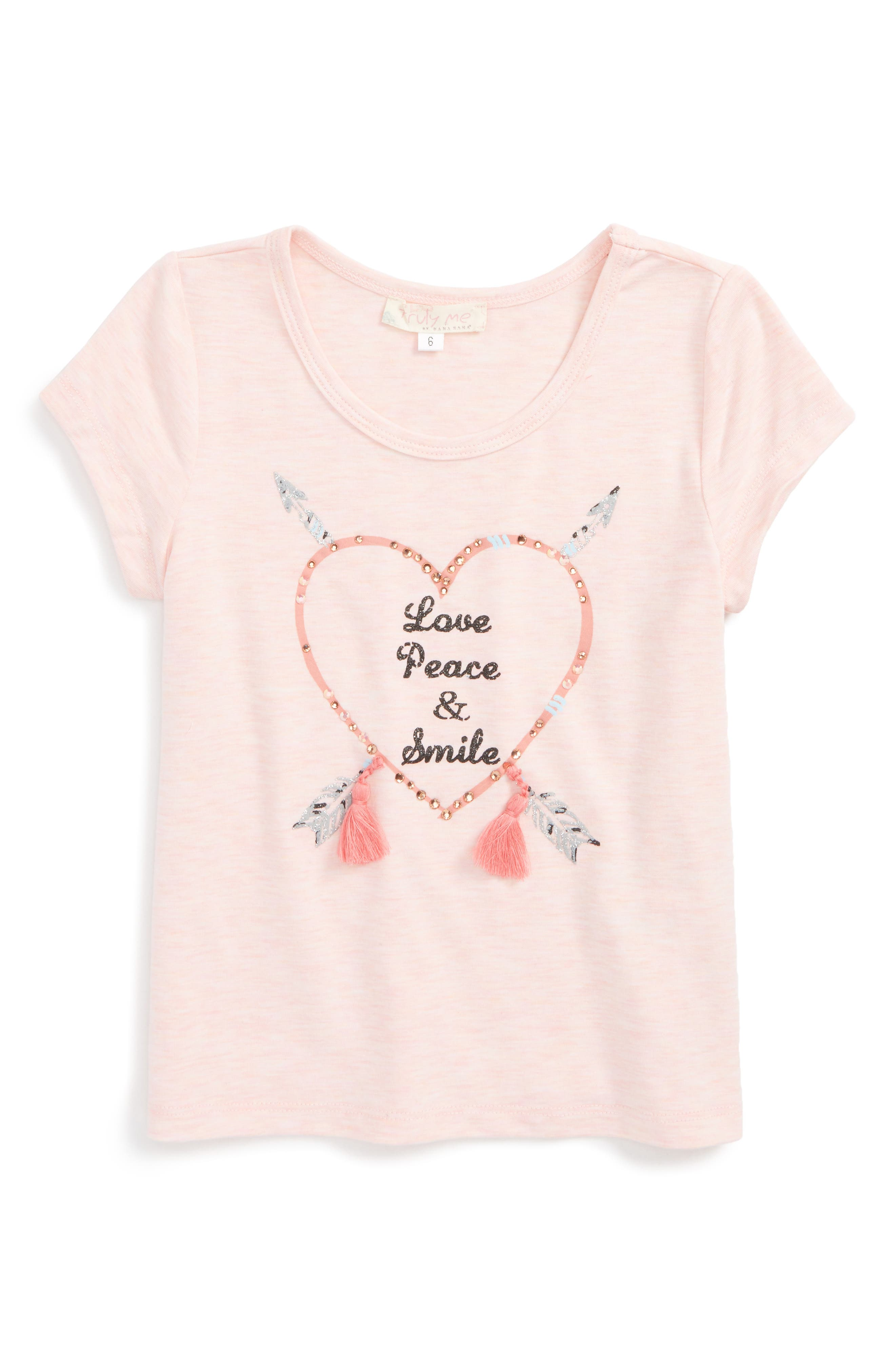 Love, Peace, Smile Embellished Graphic Tee,                         Main,                         color, Light Pink