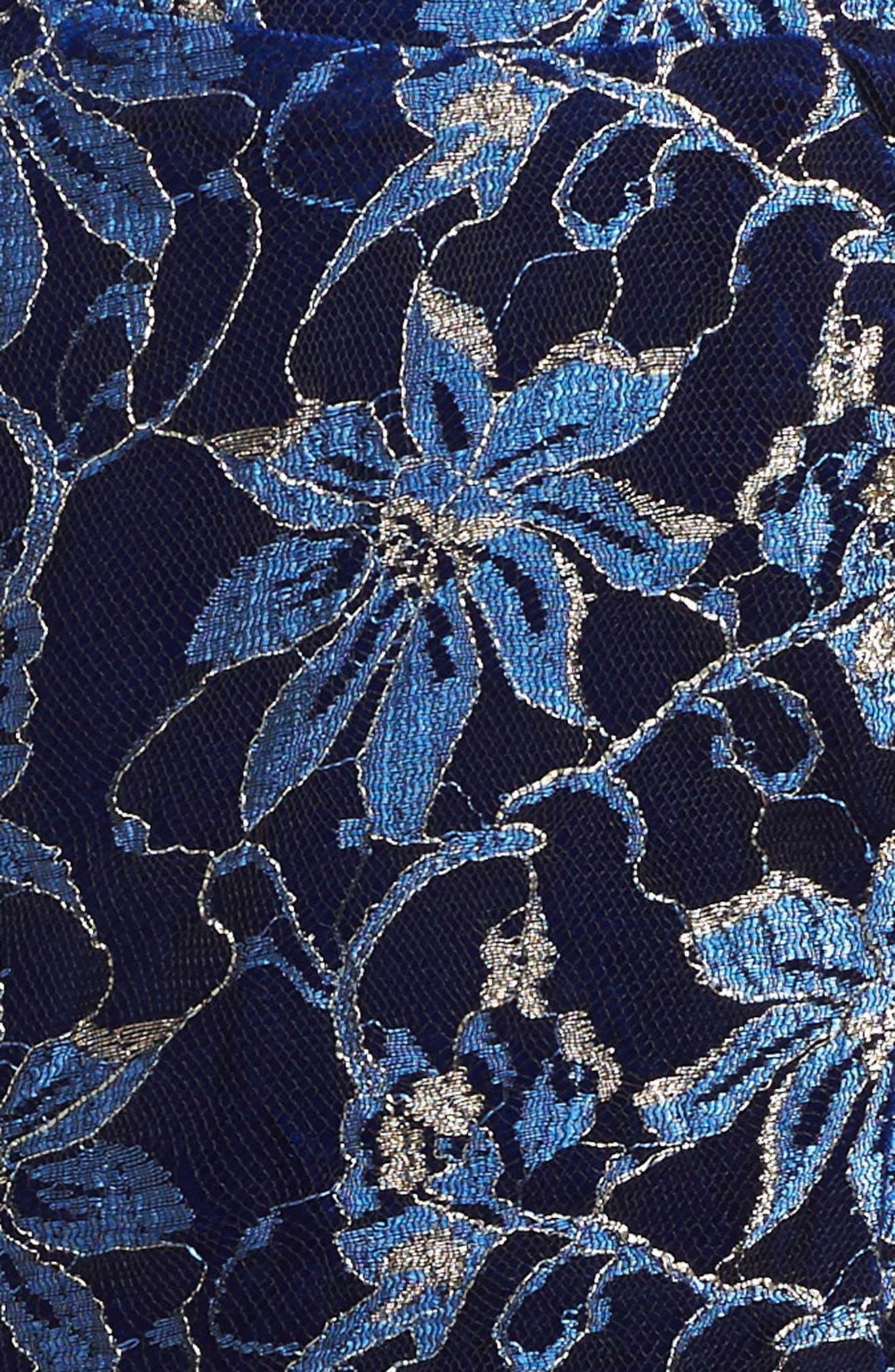 Heather Floral Mesh Dress,                             Alternate thumbnail 3, color,                             Royal Blue