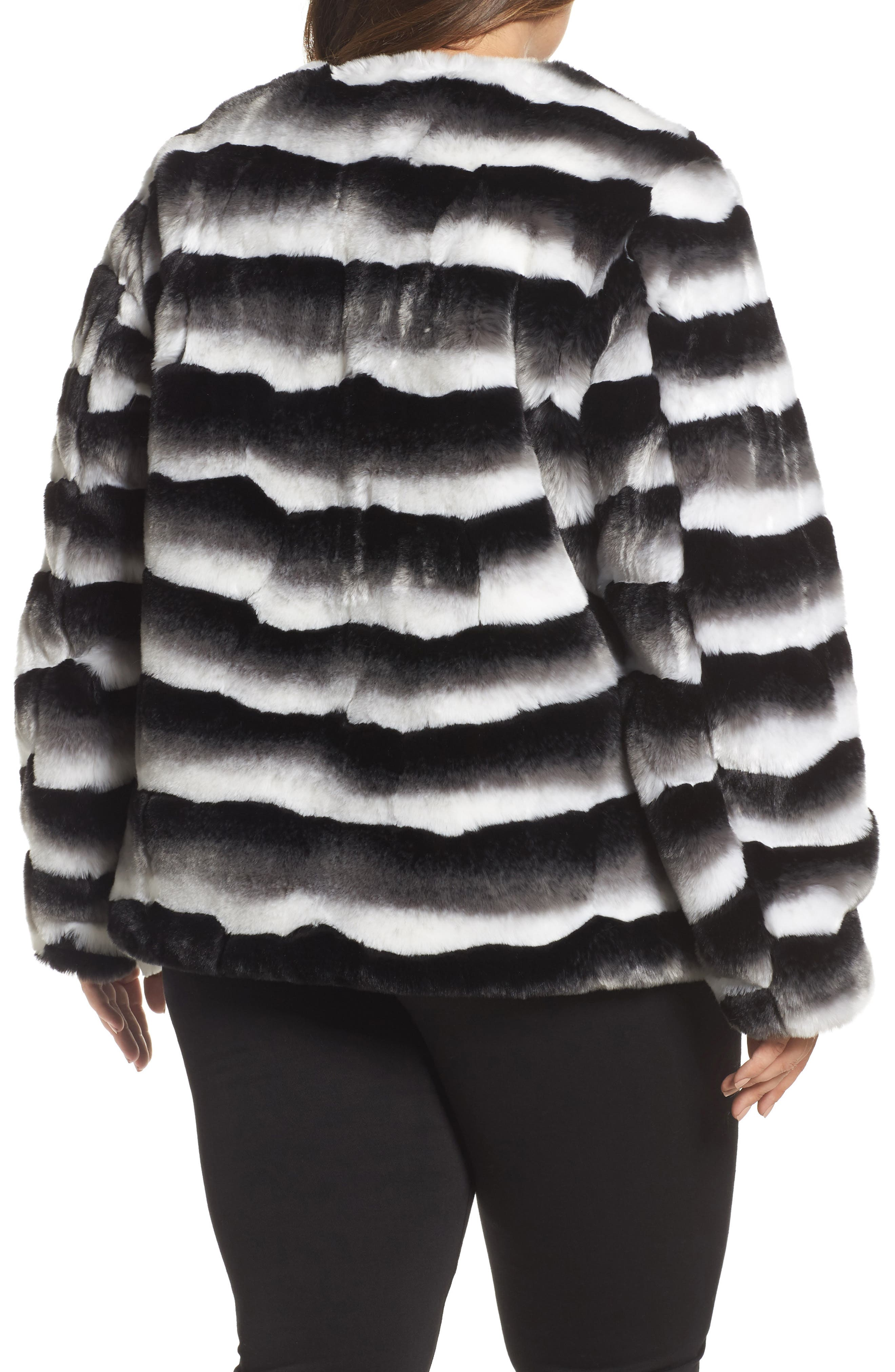 Alternate Image 2  - JUNAROSE Stripe Faux Fur Jacket (Plus Size)
