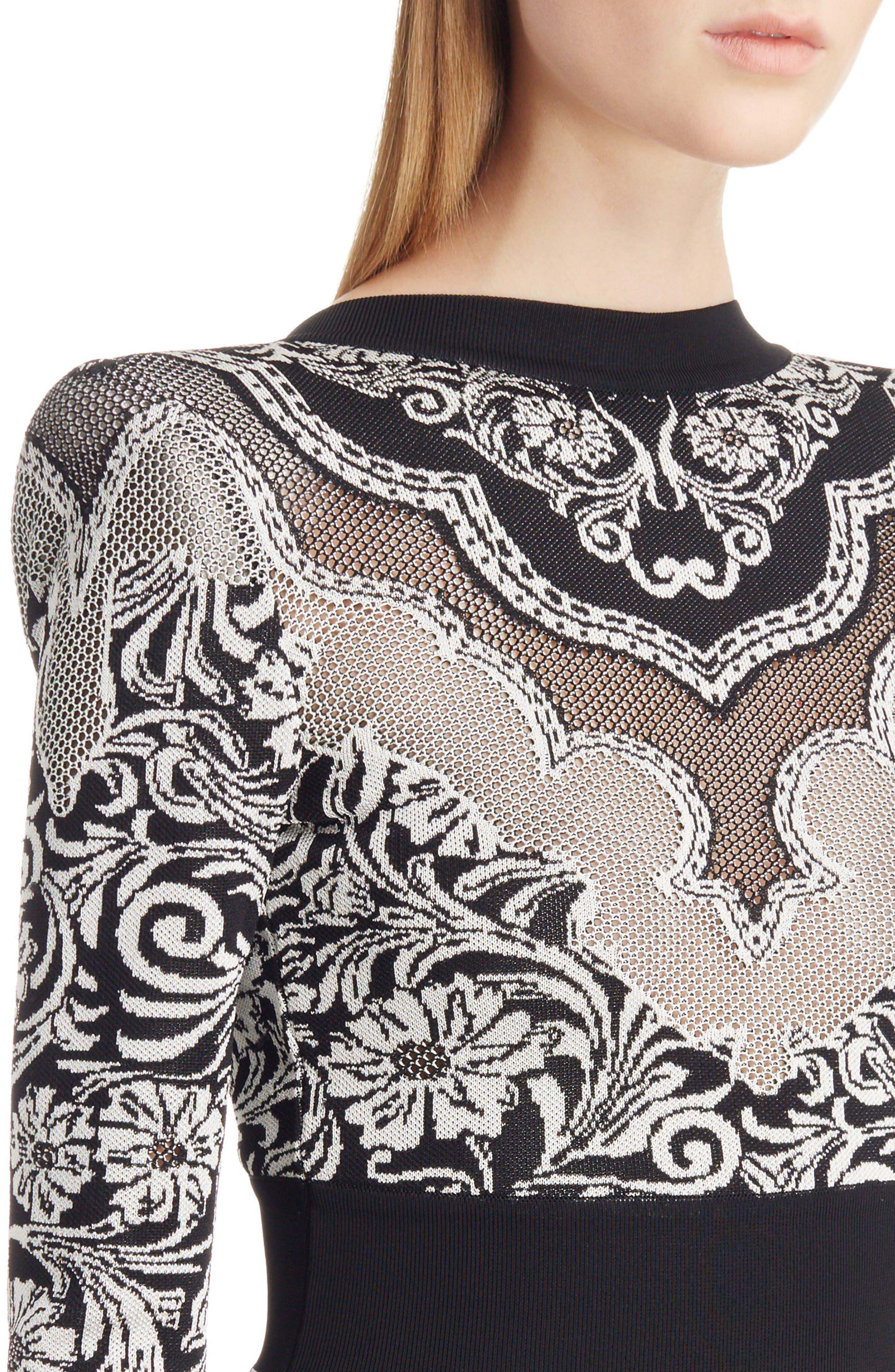 Baroque Knit Minidress,                             Alternate thumbnail 4, color,                             Black And White
