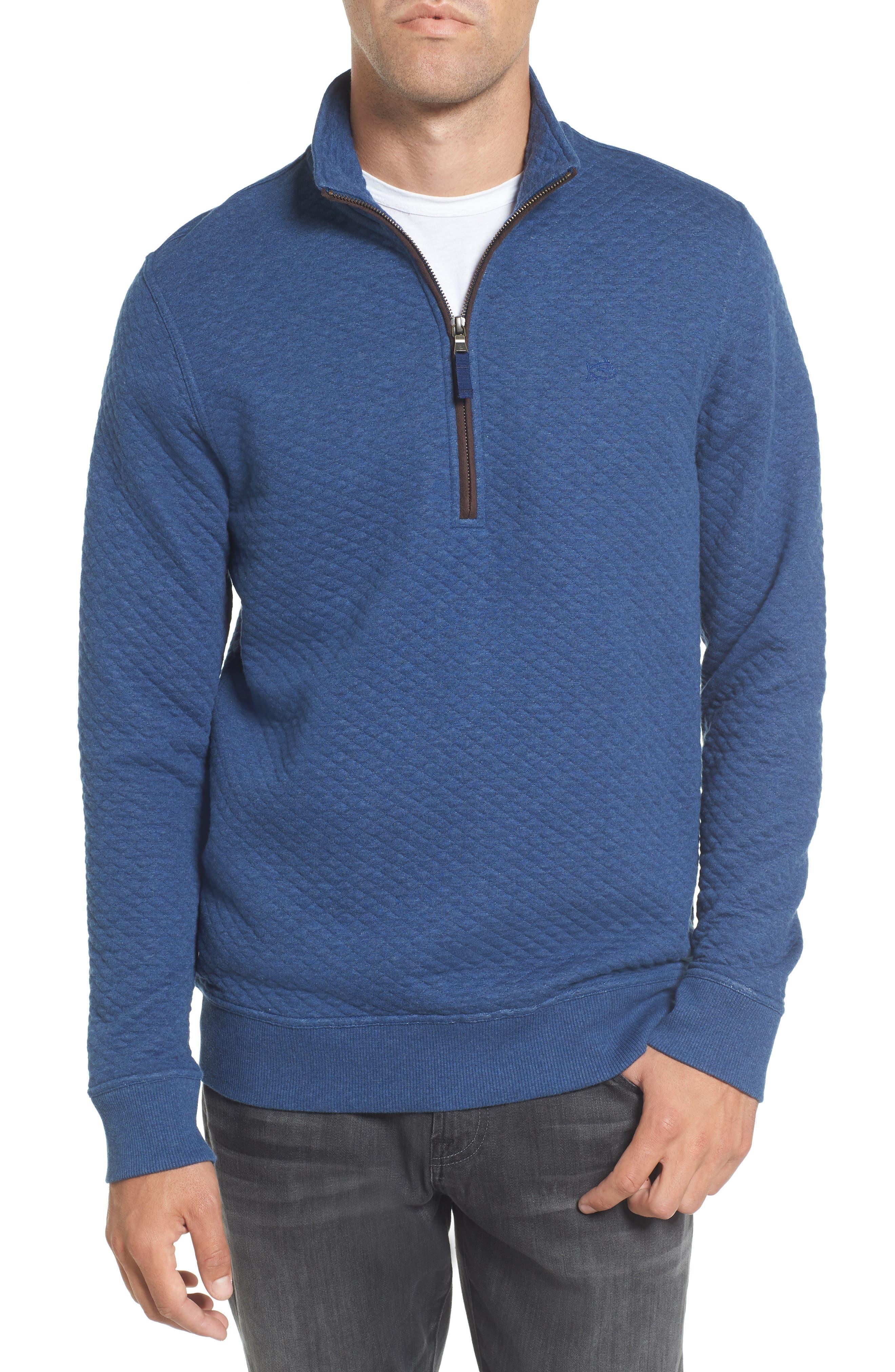 Sundown Quilted Quarter Zip Pullover,                             Main thumbnail 1, color,                             Skipper Blue