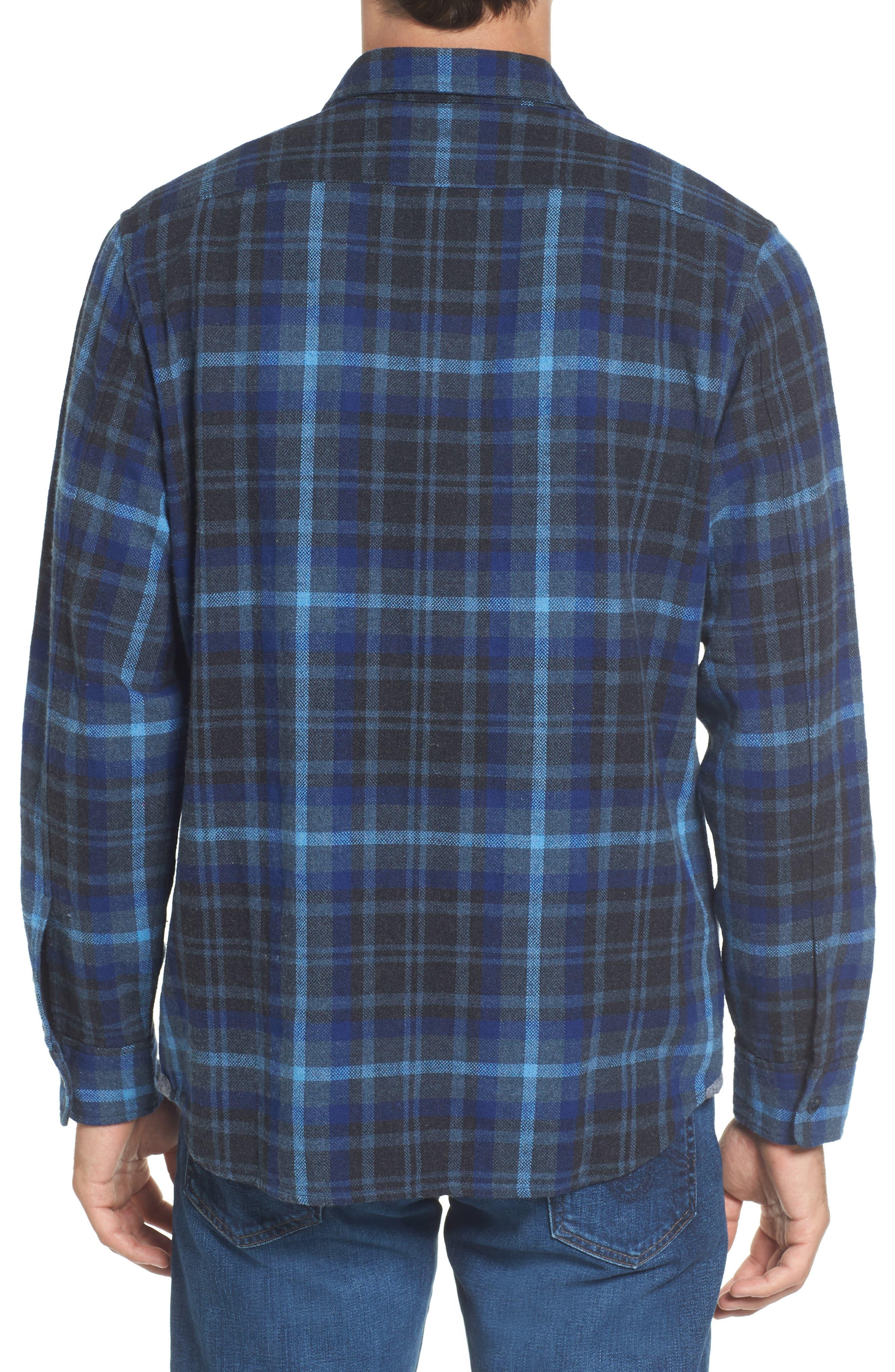 Barton Modern Fit Plaid Flannel Sport Shirt,                             Alternate thumbnail 2, color,                             Charcoal Royal Gray