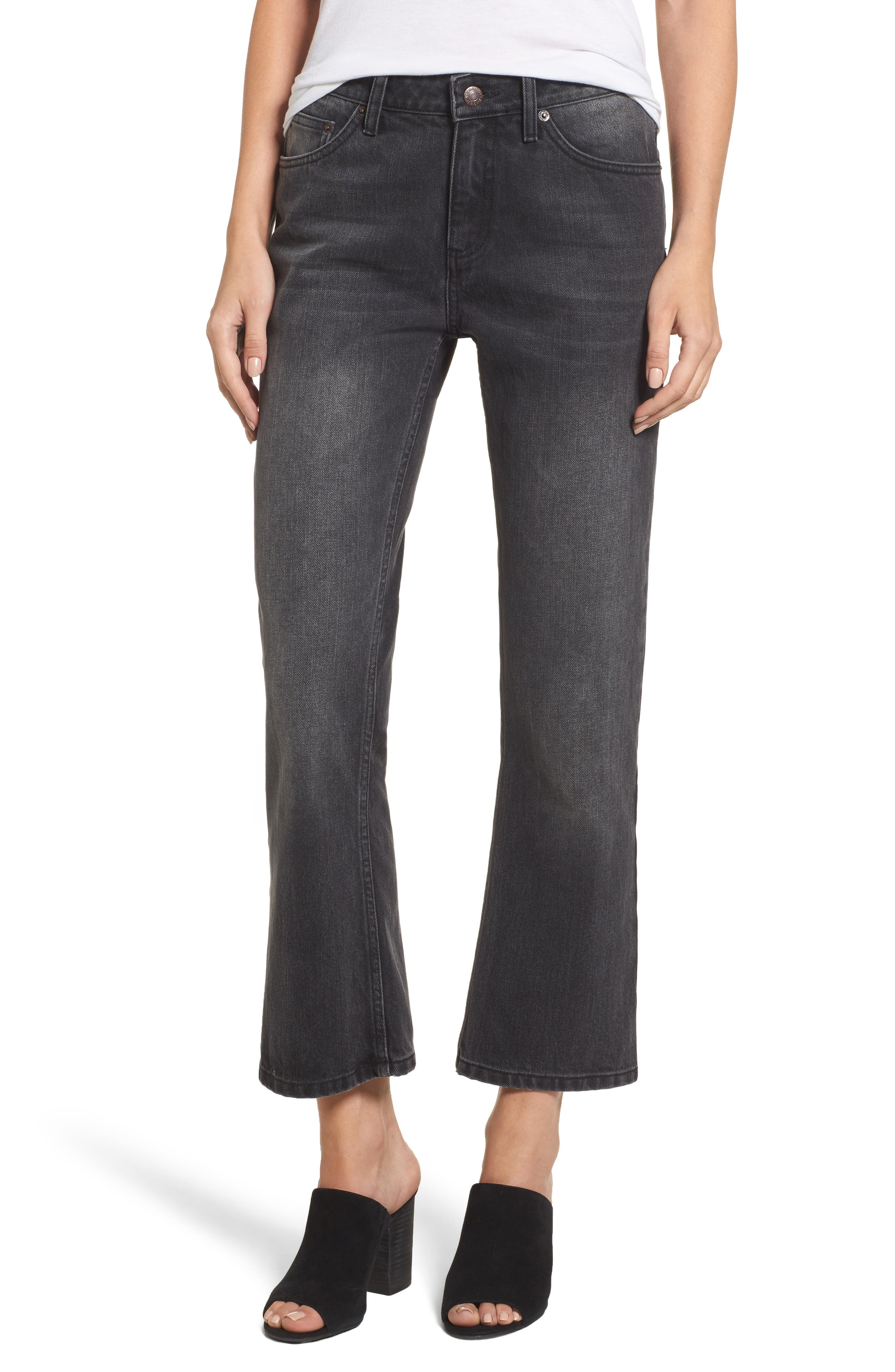 Main Image - Sincerely Jules High Waist Crop Flare Jeans (Washed Black)