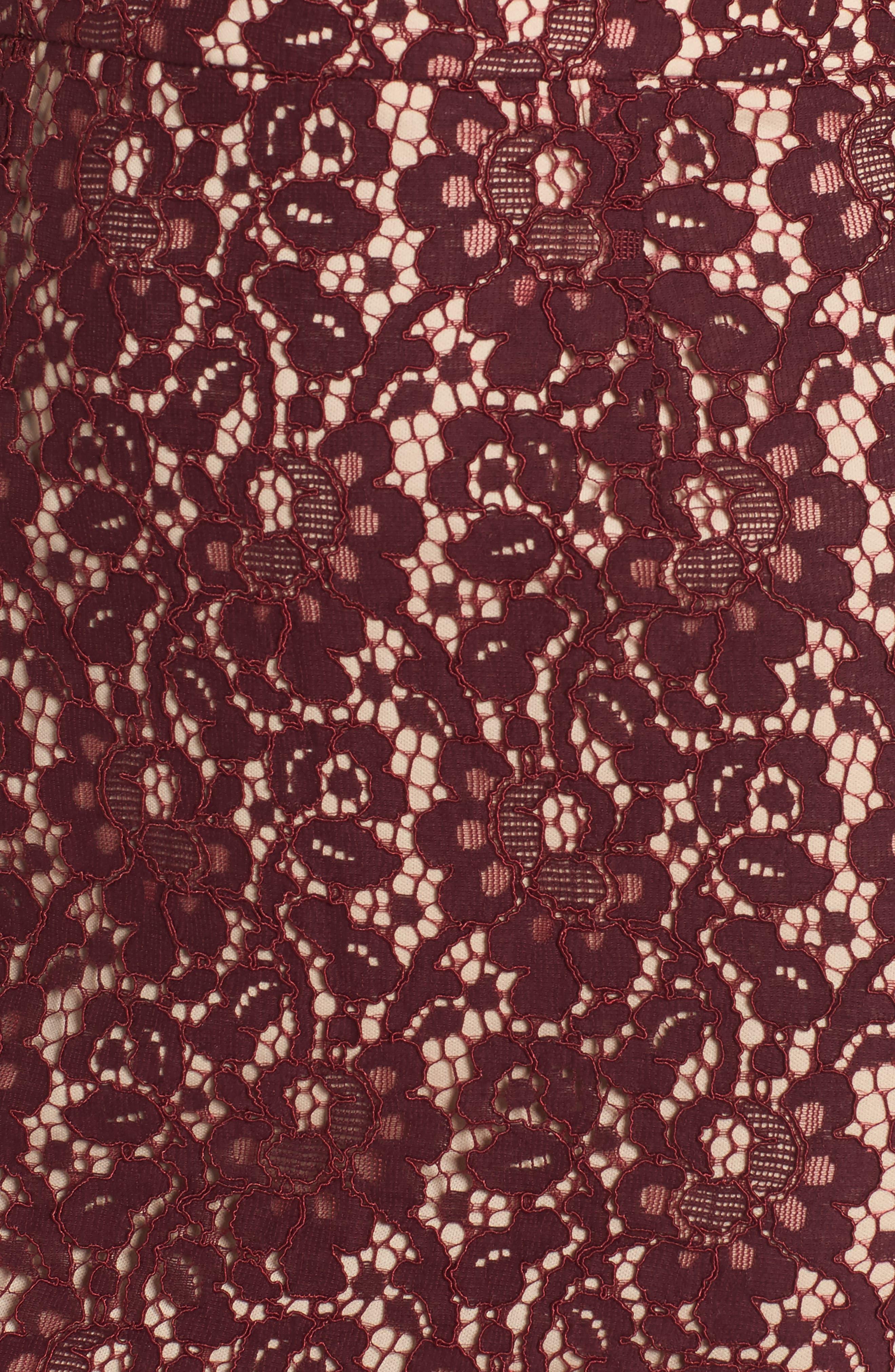Lace Halter Midi Dress,                             Alternate thumbnail 5, color,                             Wine