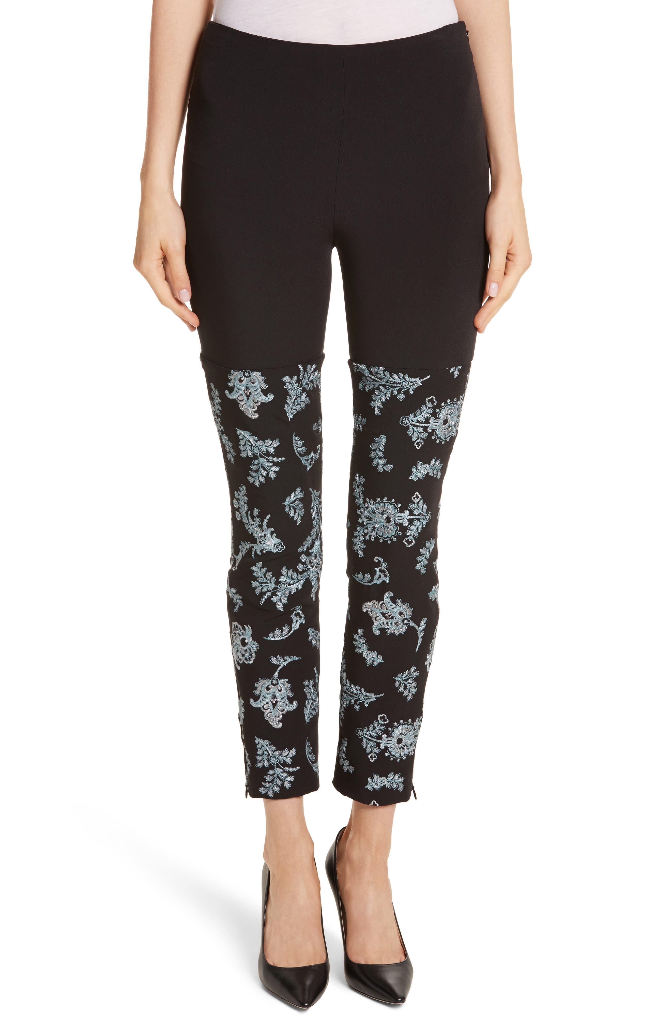 Marin Embroidered Leggings,                             Main thumbnail 1, color,                             Black/ Silver/ Sunshower
