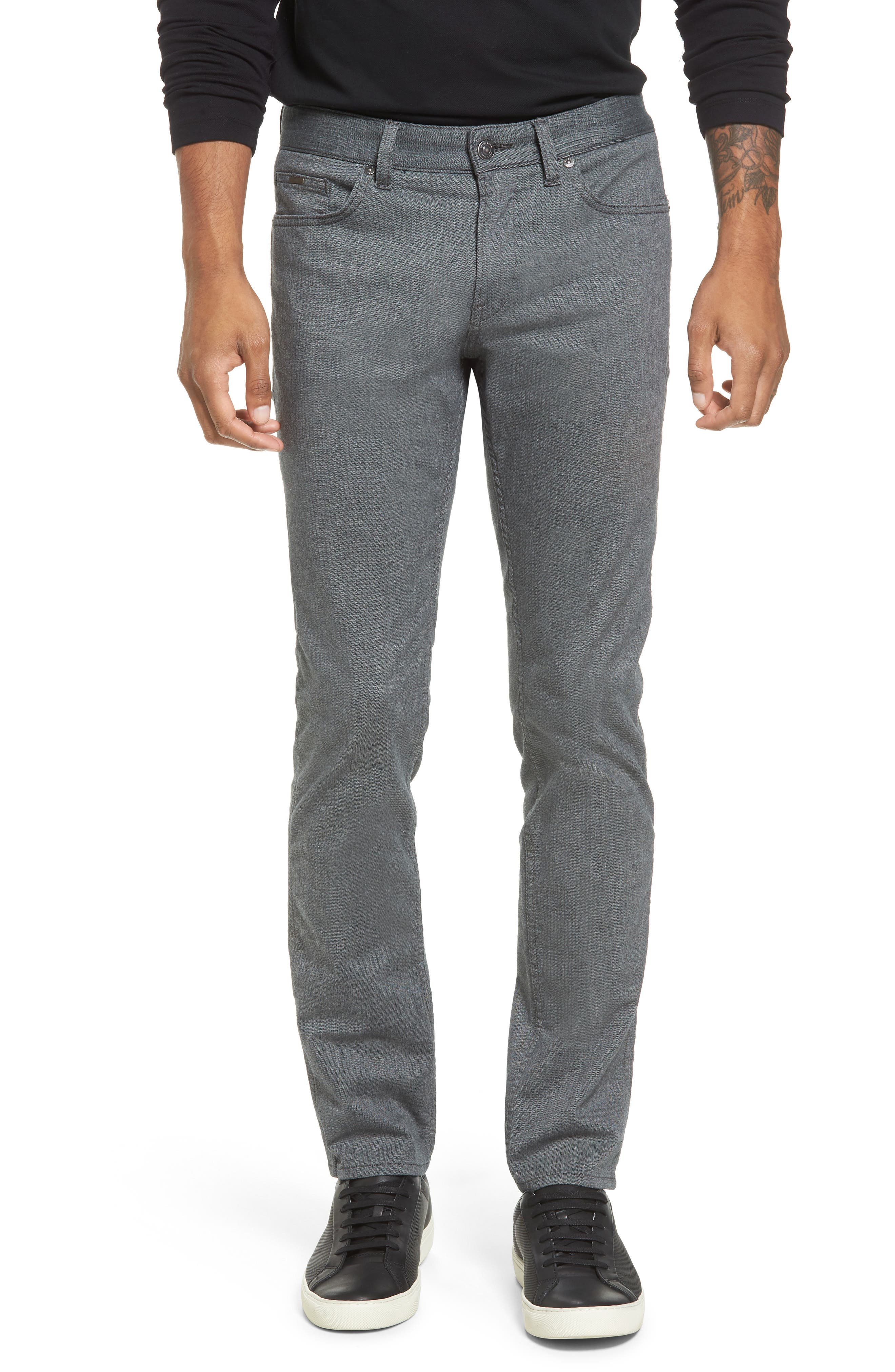 Delaware Slim Herringbone Five-Pocket Pants,                         Main,                         color, Charcoal