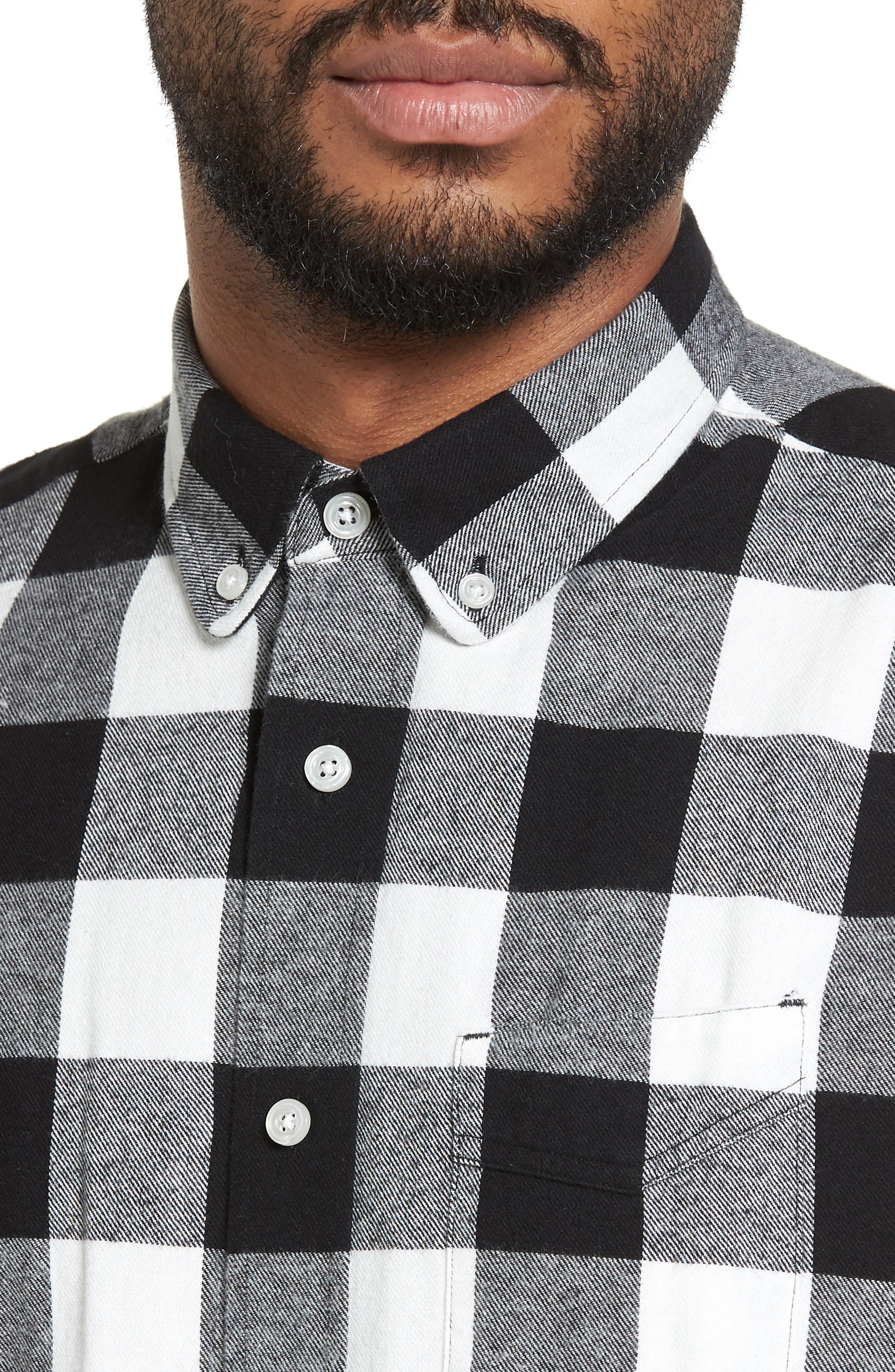 Trim Fit Buffalo Plaid Flannel Sport Shirt,                             Alternate thumbnail 4, color,                             Black/ White Buffalo Plaid