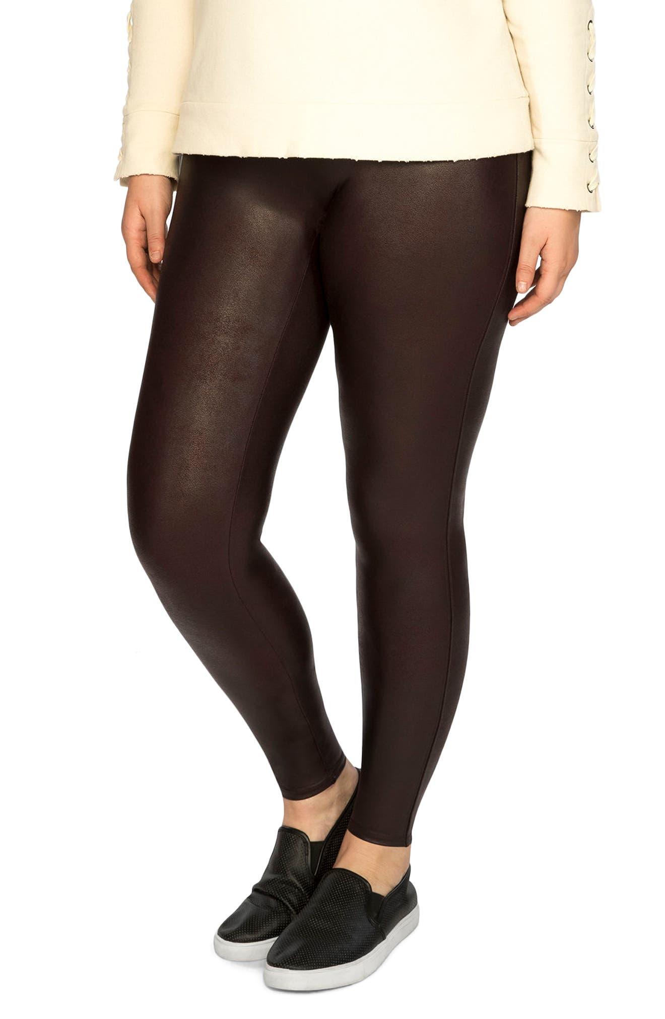 Faux Leather Leggings,                         Main,                         color, Wine