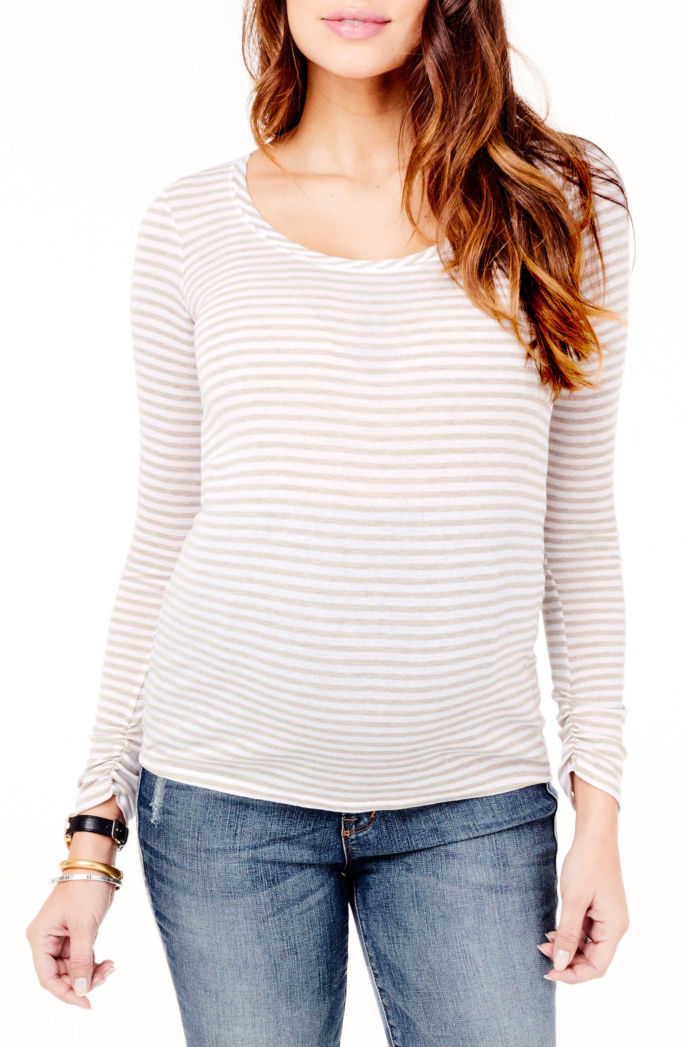Stripe Scoop Neck Maternity Tee,                         Main,                         color, Oatmeal Heather/White Strip