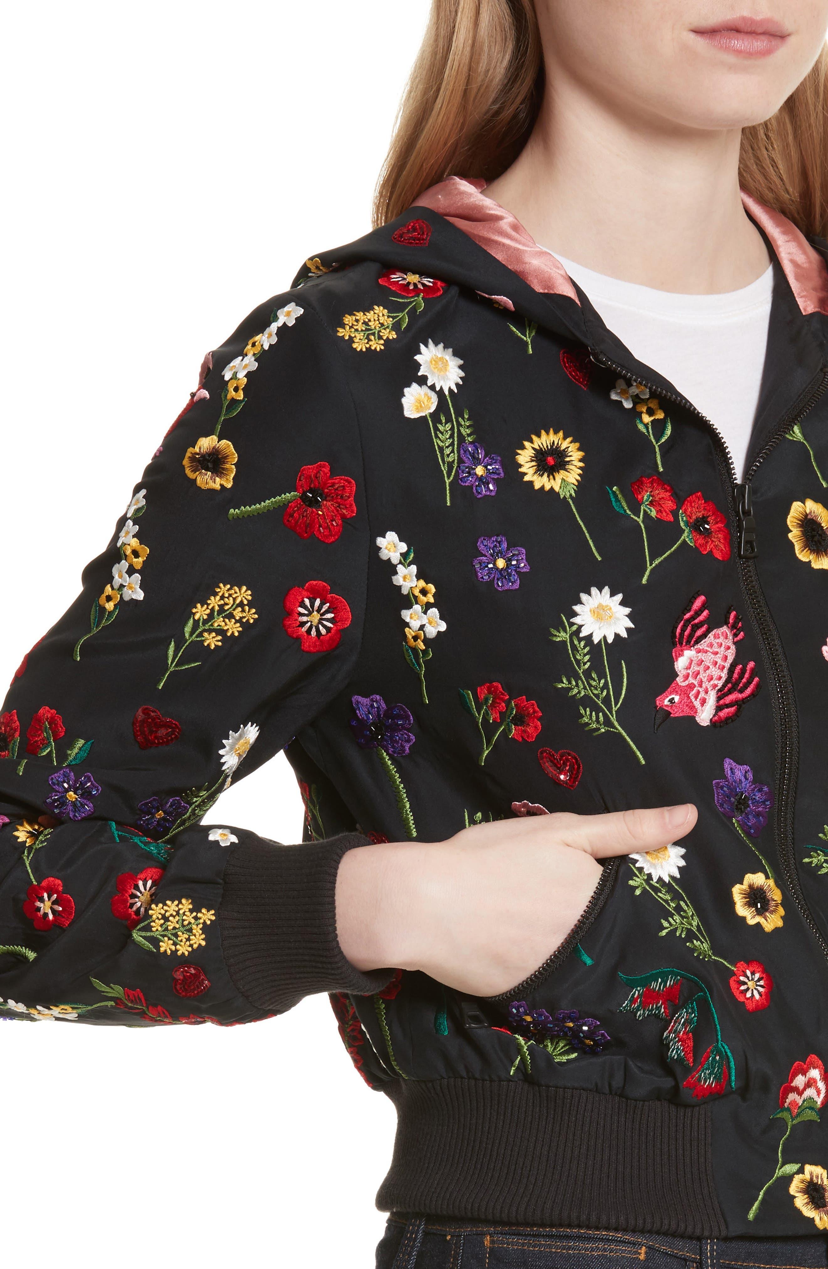 Alternate Image 4  - Alice + Olivia Lonnie Embroidered Hooded Silk Bomber Jacket