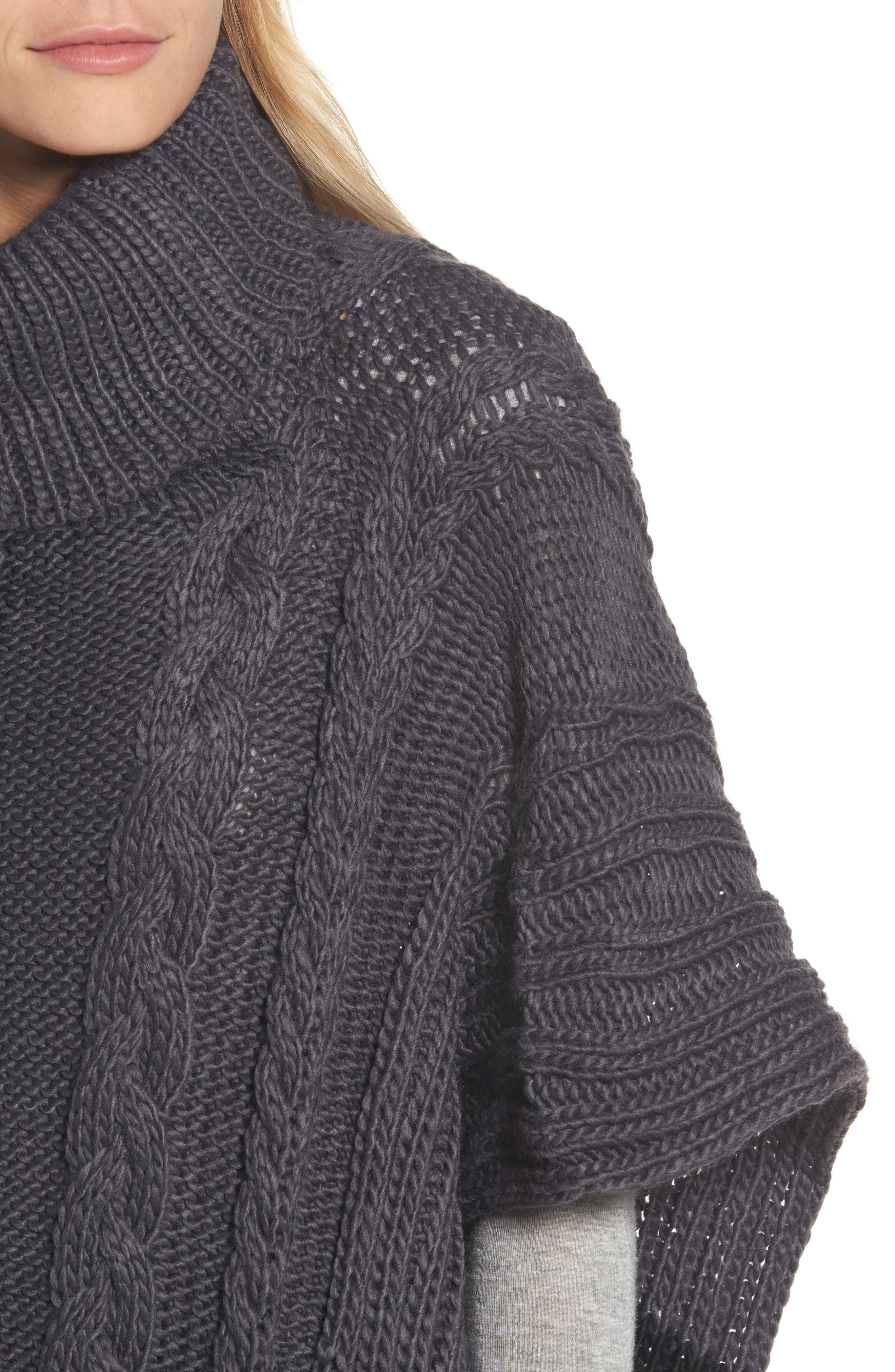 Cable Knit Poncho,                             Alternate thumbnail 4, color,                             Grey Night