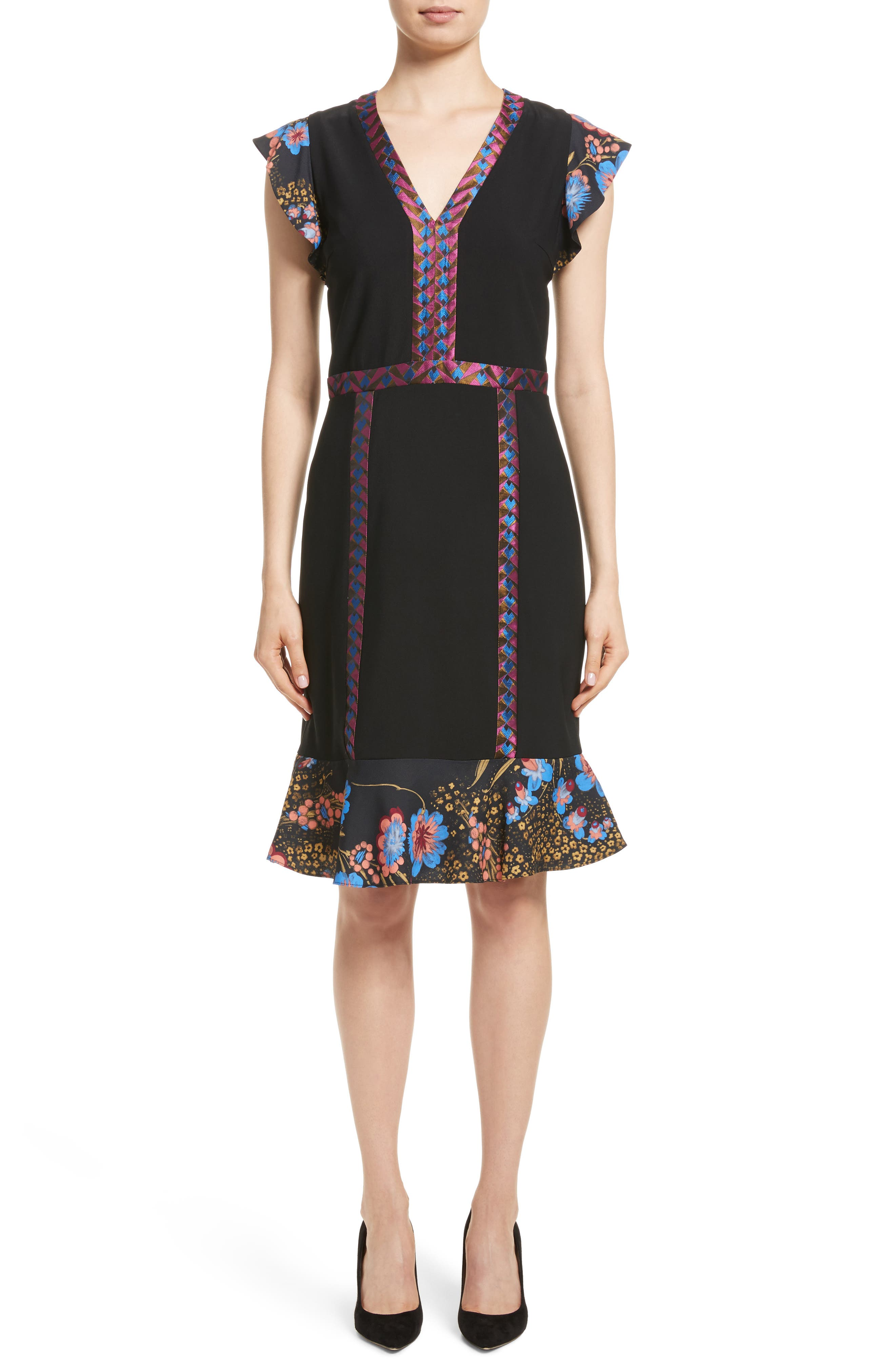Flutter Sleeve Sheath Dress,                         Main,                         color, Black