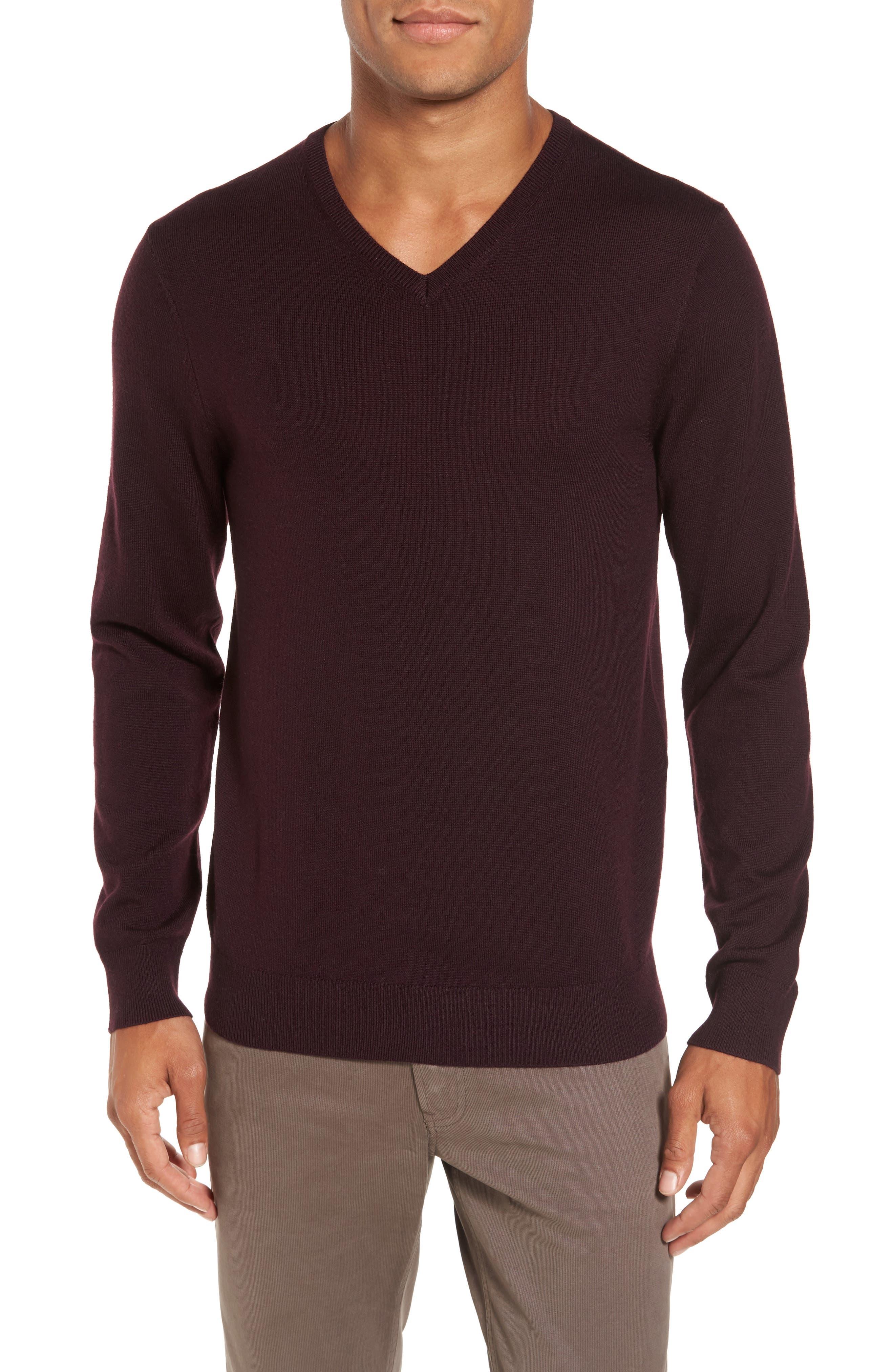 Merino V-Neck Sweater,                             Main thumbnail 1, color,                             Port