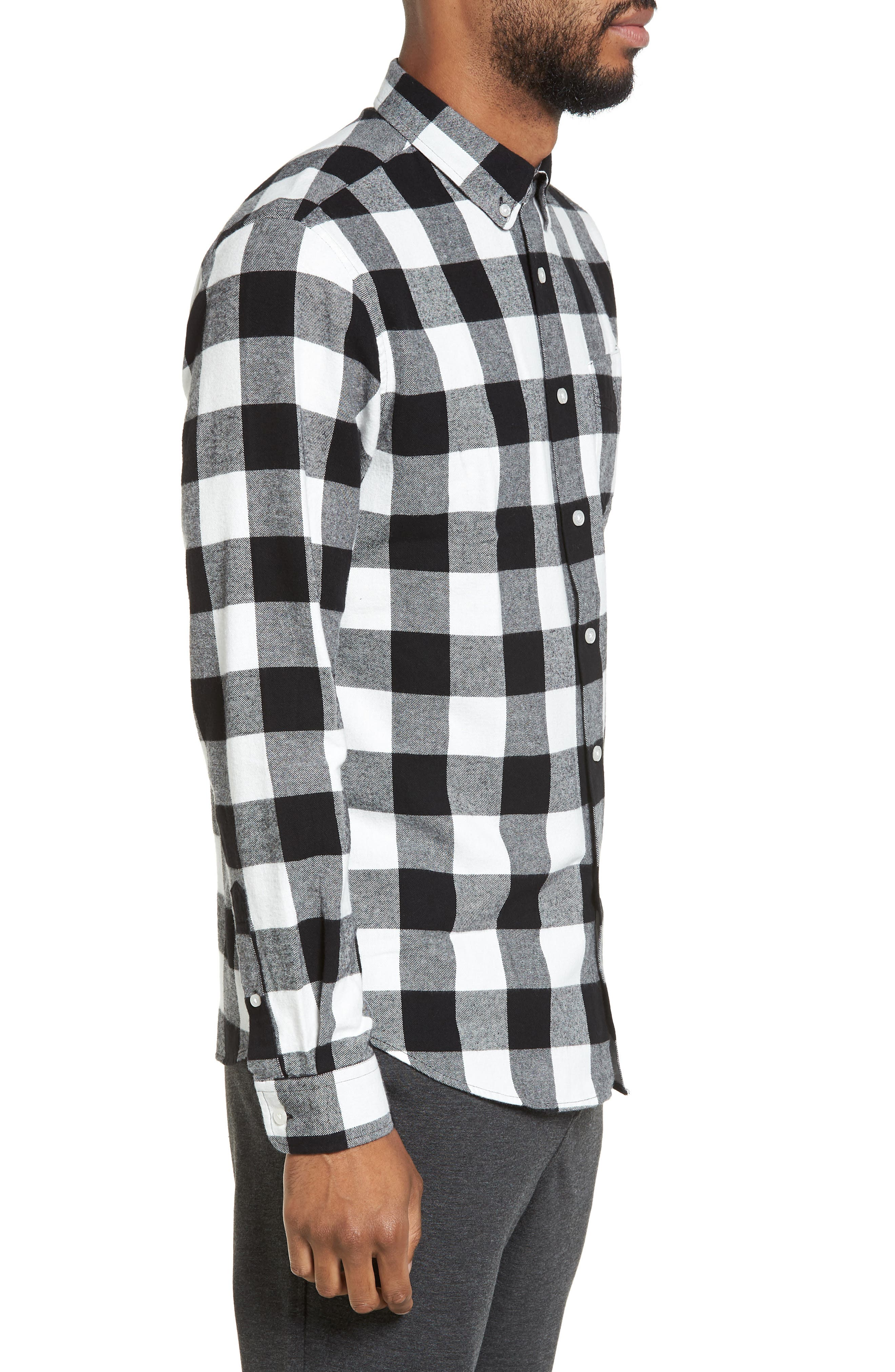 Trim Fit Buffalo Plaid Flannel Sport Shirt,                             Alternate thumbnail 3, color,                             Black/ White Buffalo Plaid