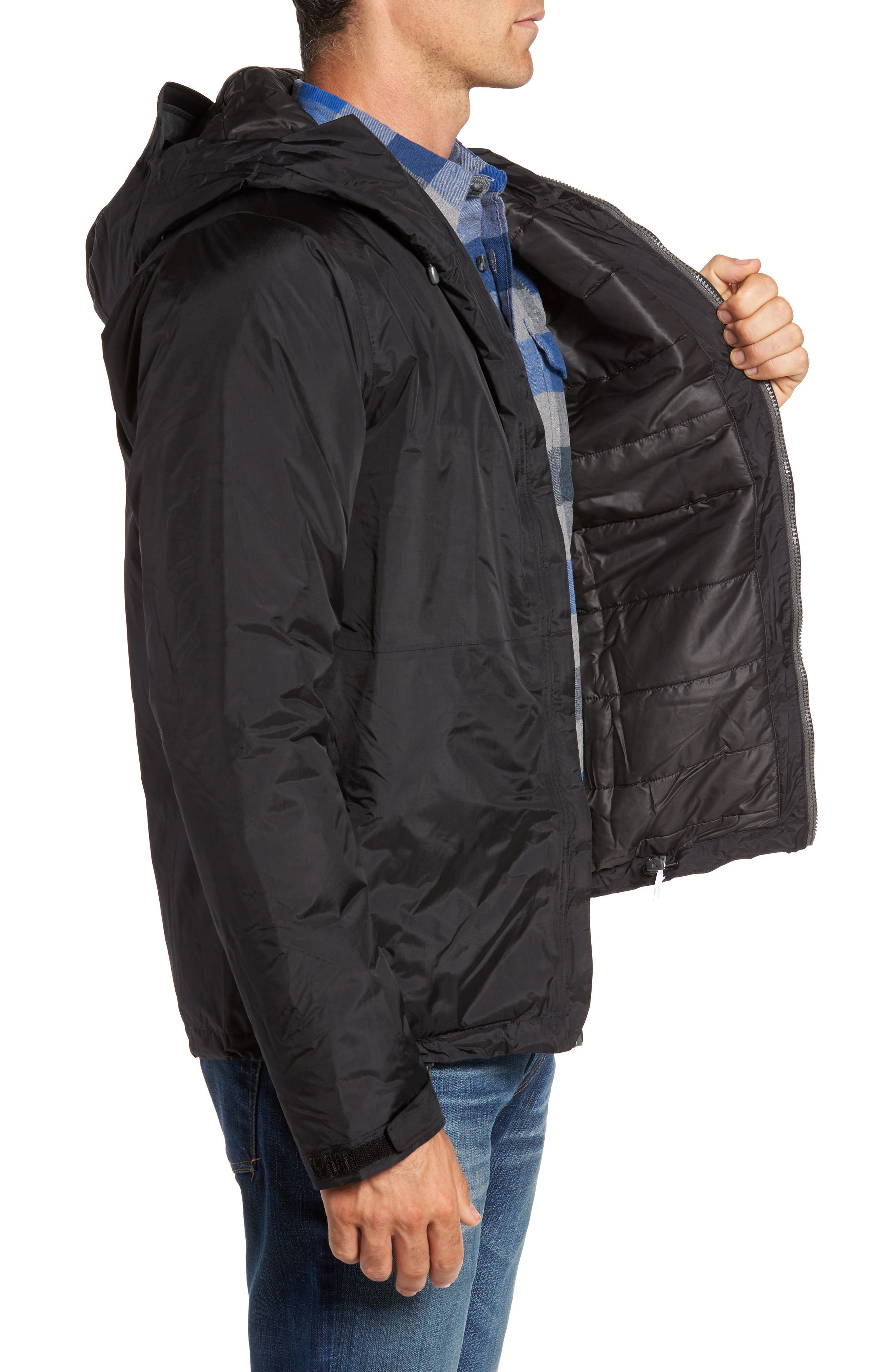 Torrentshell H2No<sup>®</sup> Packable Insulated Rain Jacket,                             Alternate thumbnail 3, color,                             Black