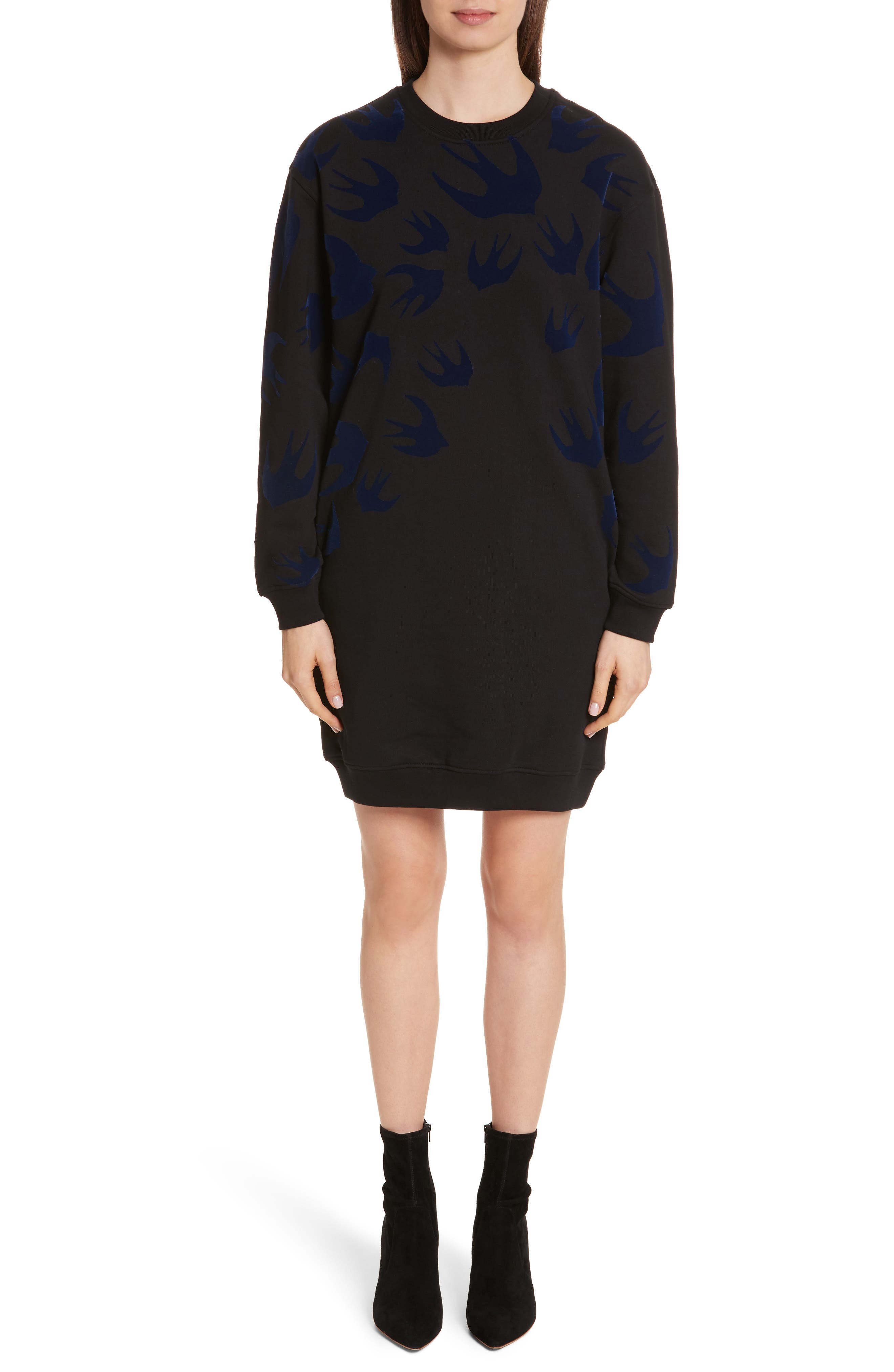 Swallow Classic Sweatshirt Dress,                             Main thumbnail 1, color,                             Black Multi