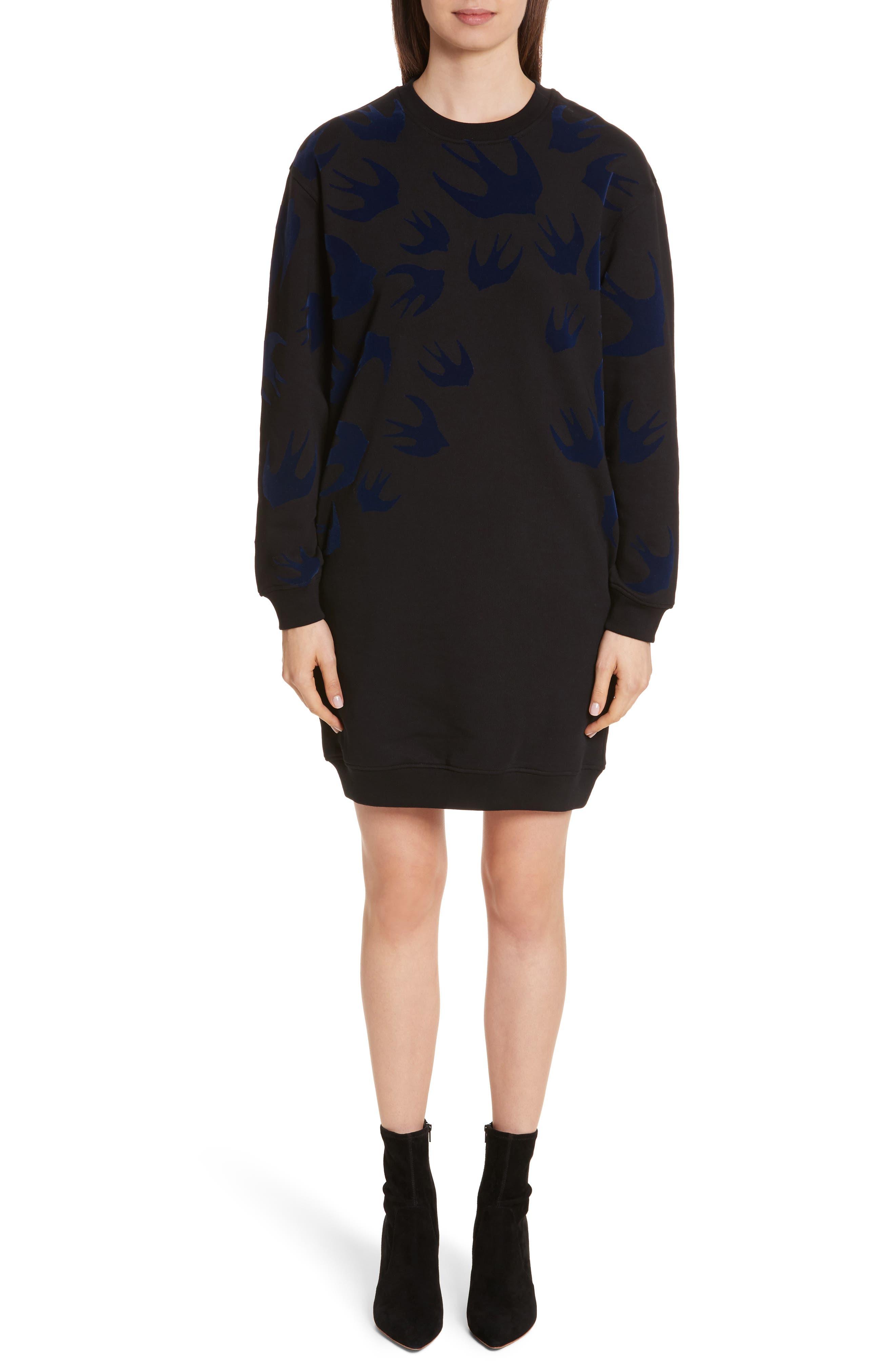 Swallow Classic Sweatshirt Dress,                         Main,                         color, Black Multi