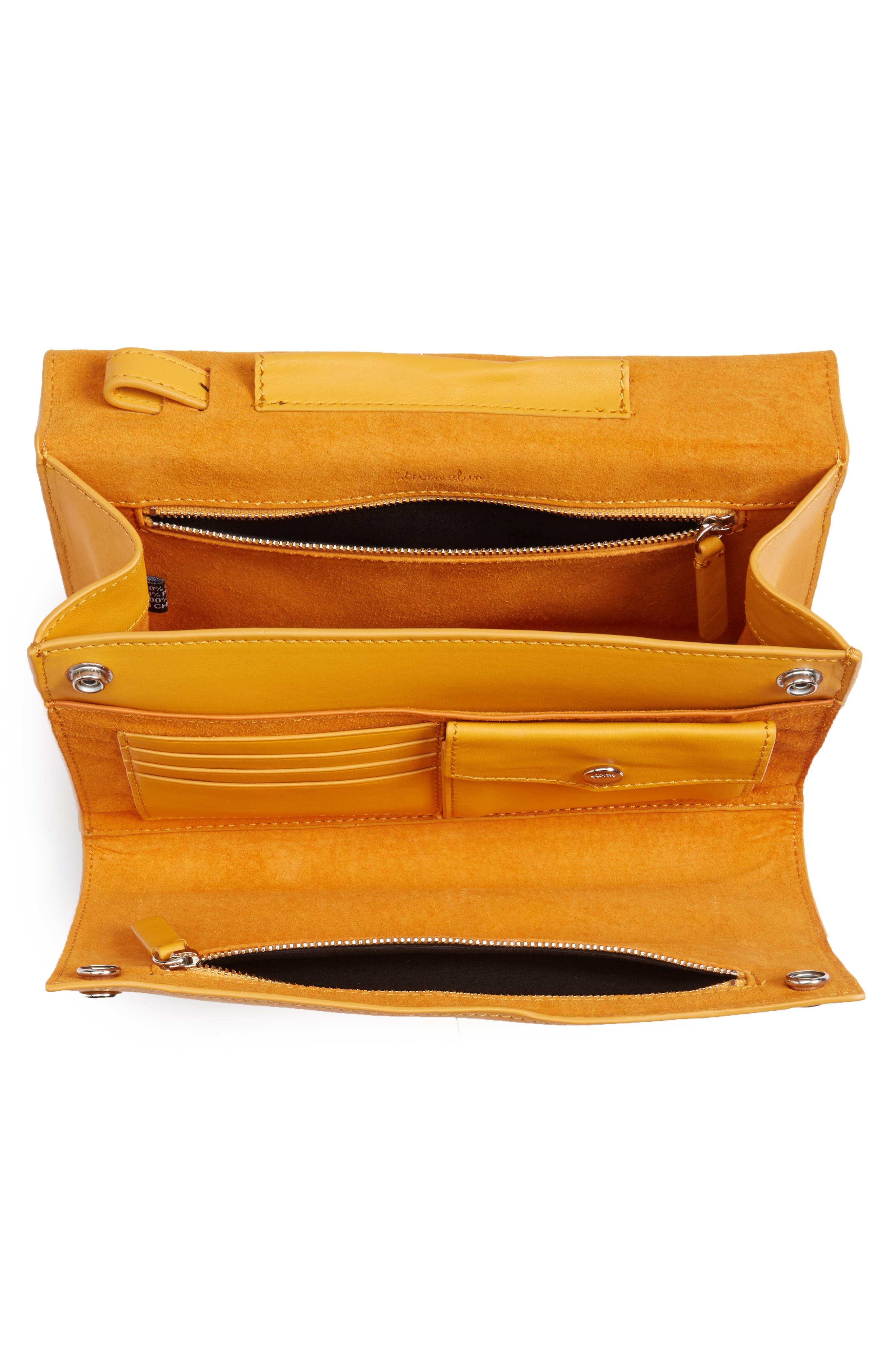 Easton Leather Envelope Crossbody Bag,                             Alternate thumbnail 4, color,                             Ochre