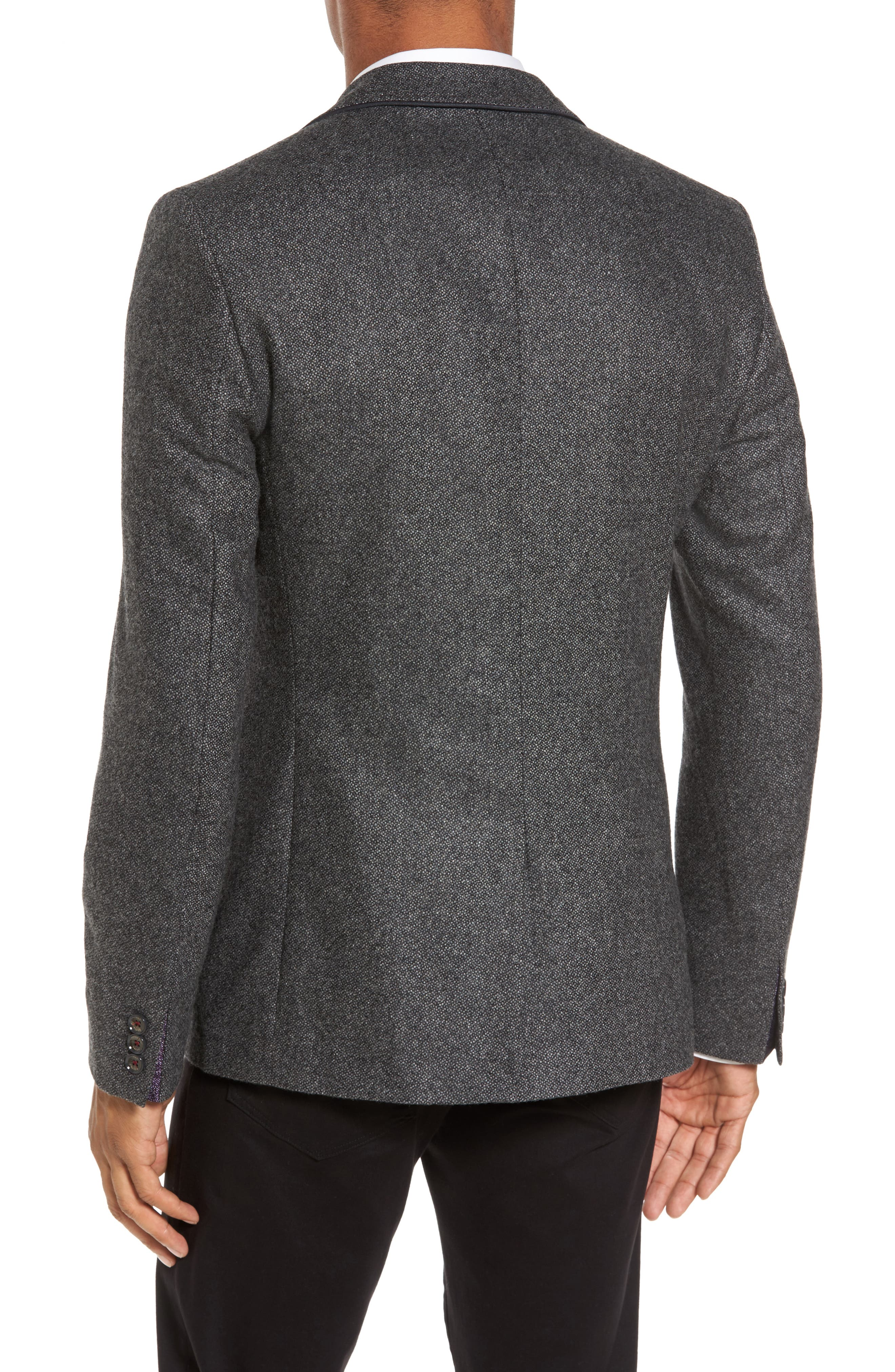 Modern Slim Fit Textured Blazer,                             Alternate thumbnail 2, color,                             Charcoal
