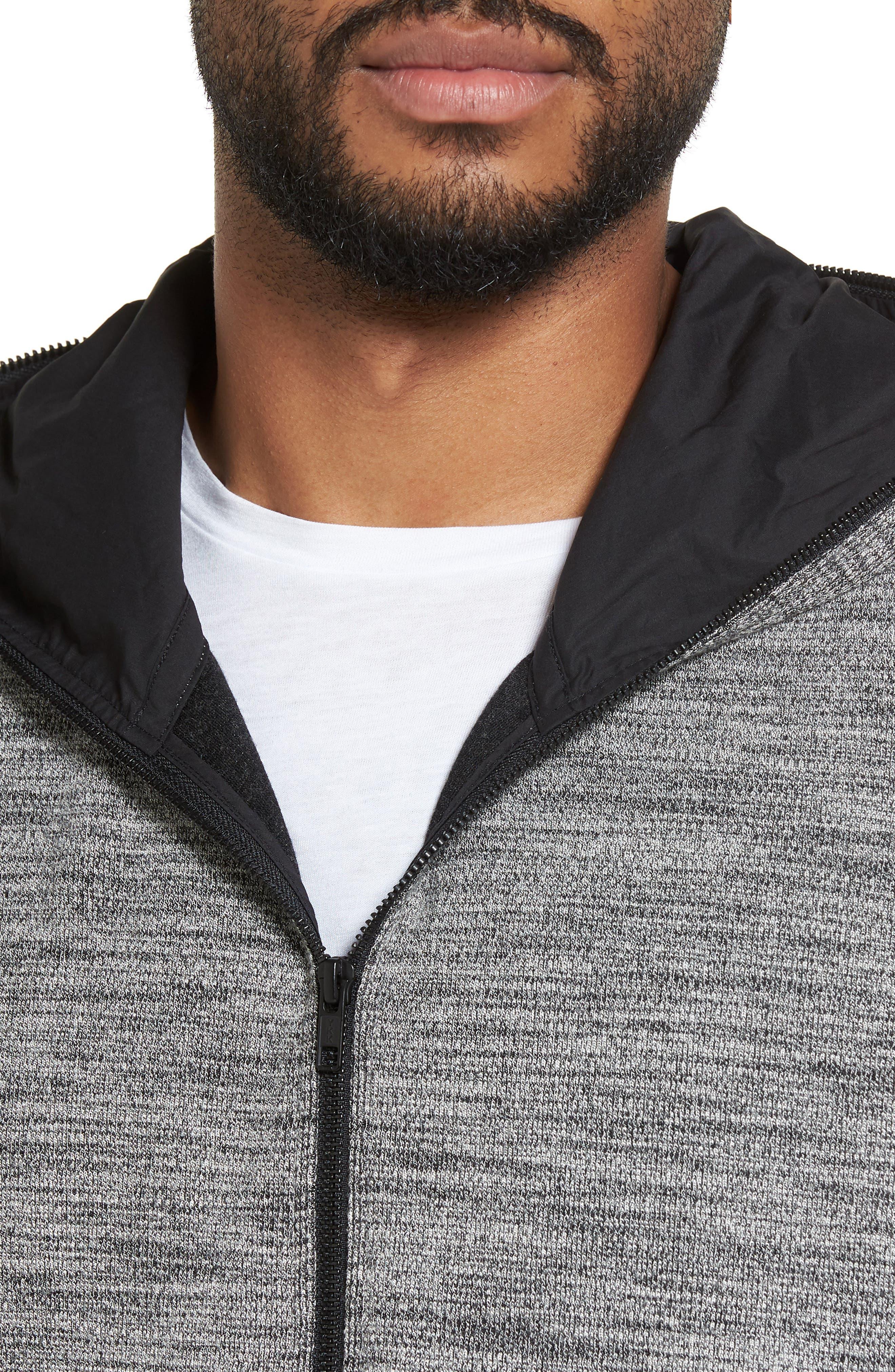 Trim Fit Lightweight Zip Hoodie,                             Alternate thumbnail 4, color,                             Grey Sleet Spacedye