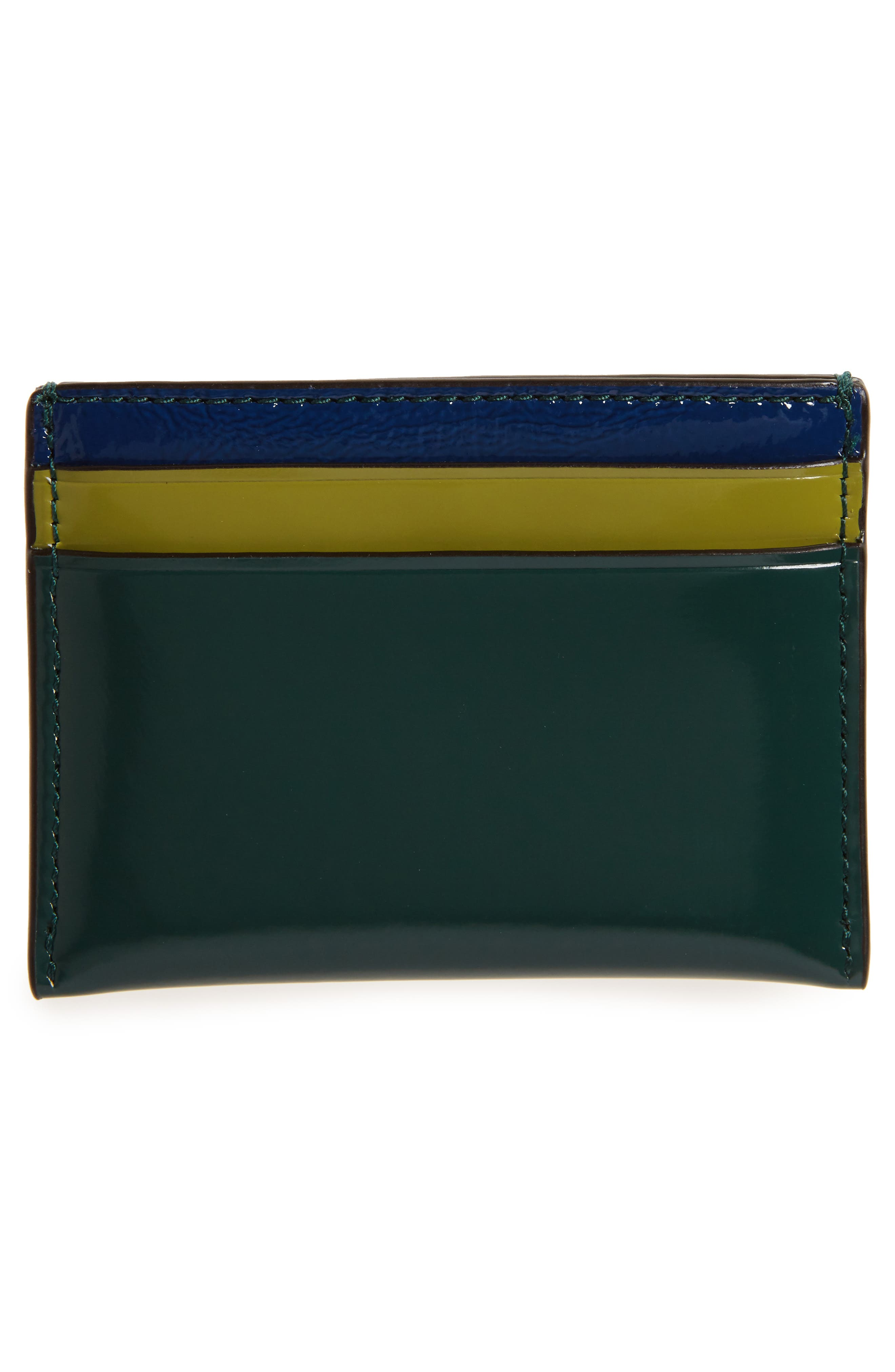 Turtle Appliqué Leather & Genuine Snakeskin Card Case,                             Alternate thumbnail 2, color,                             Malachite