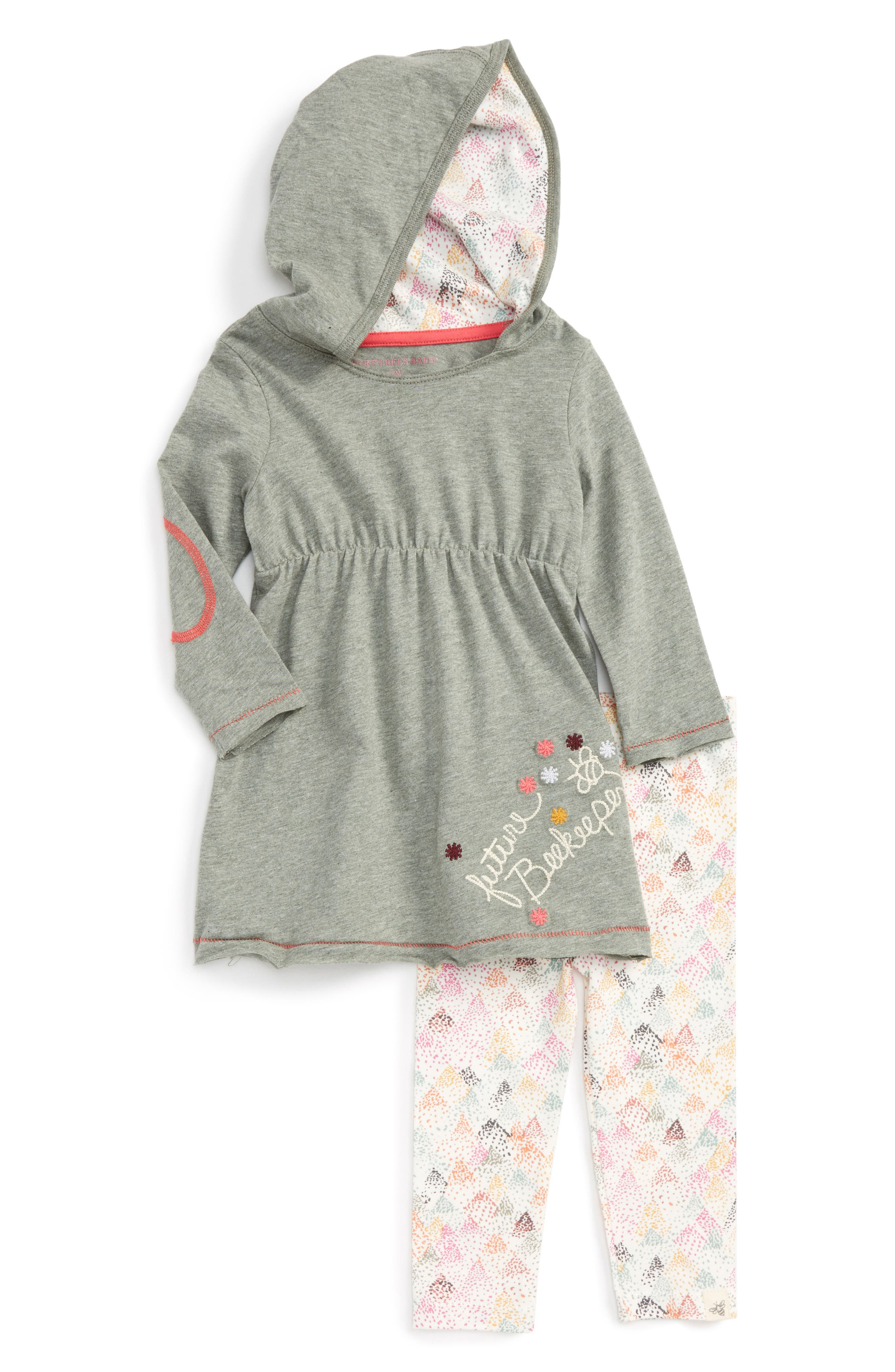 Burt's Bees Baby Embroidered Organic Cotton Hooded Dress & Leggings Set (Baby Girls)