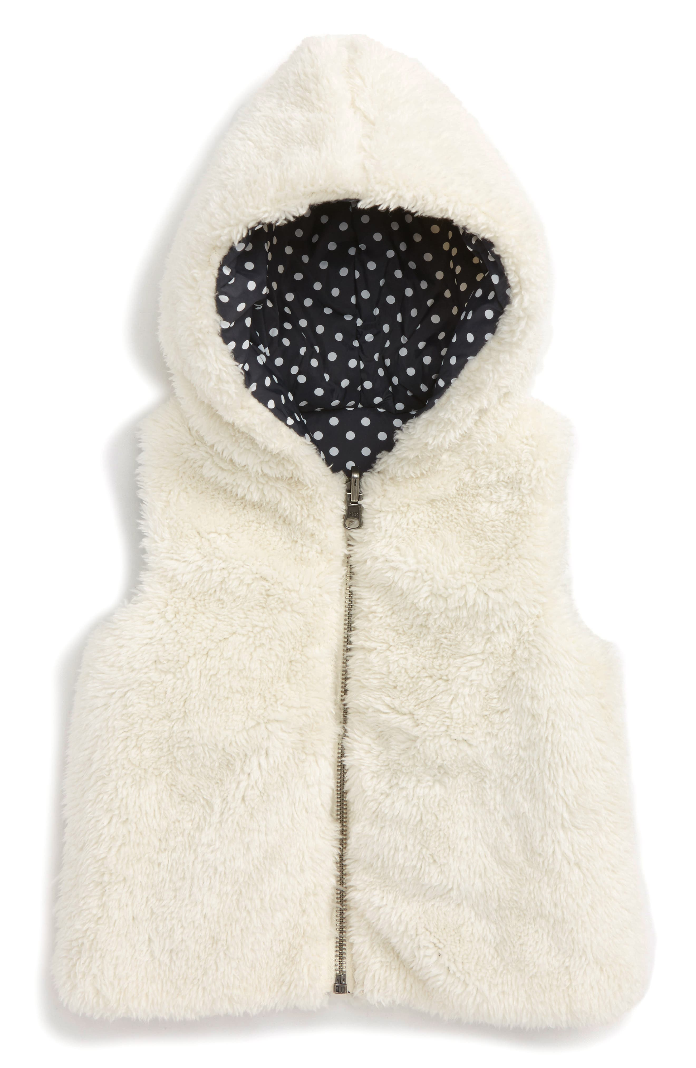 Tucker + Tate Reversible Faux Fur Hooded Vest (Baby Girls)