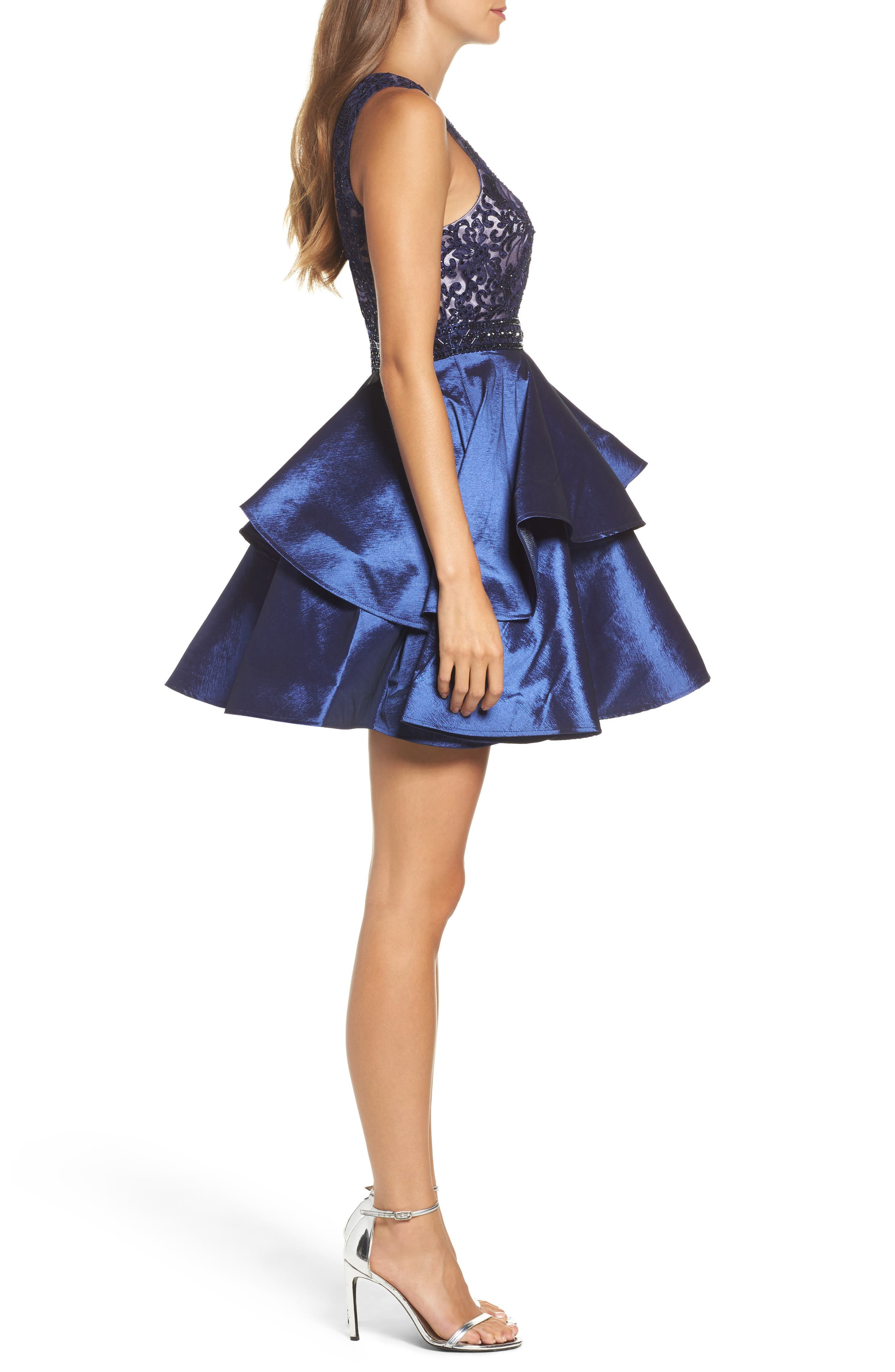 Lace Bodice Tiered Mikado Fit & Flare Dress,                             Alternate thumbnail 3, color,                             Navy